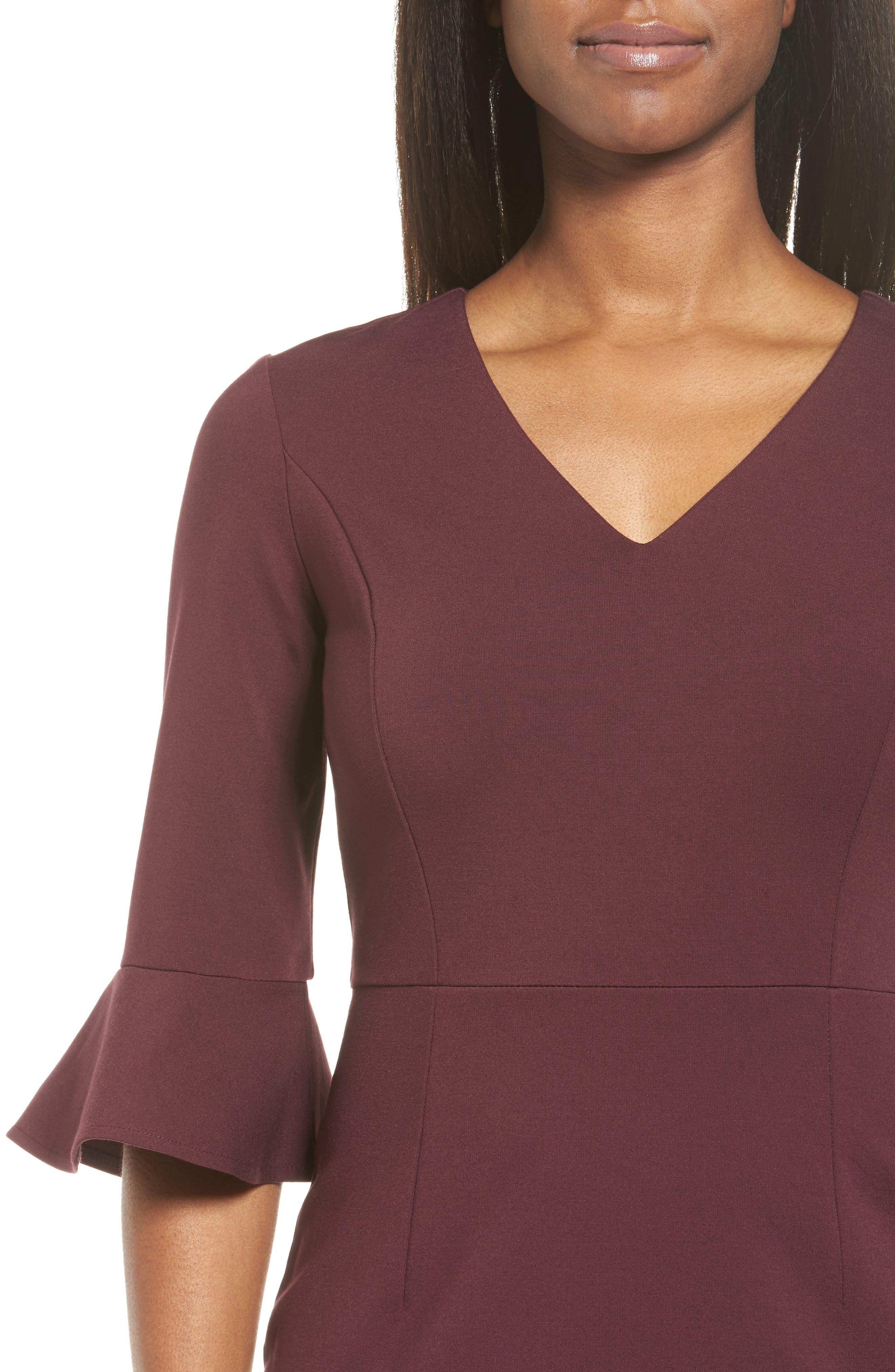 Alternate Image 4  - Halogen® Ruffle Sleeve Ponte Sheath Dress (Regular & Petite)