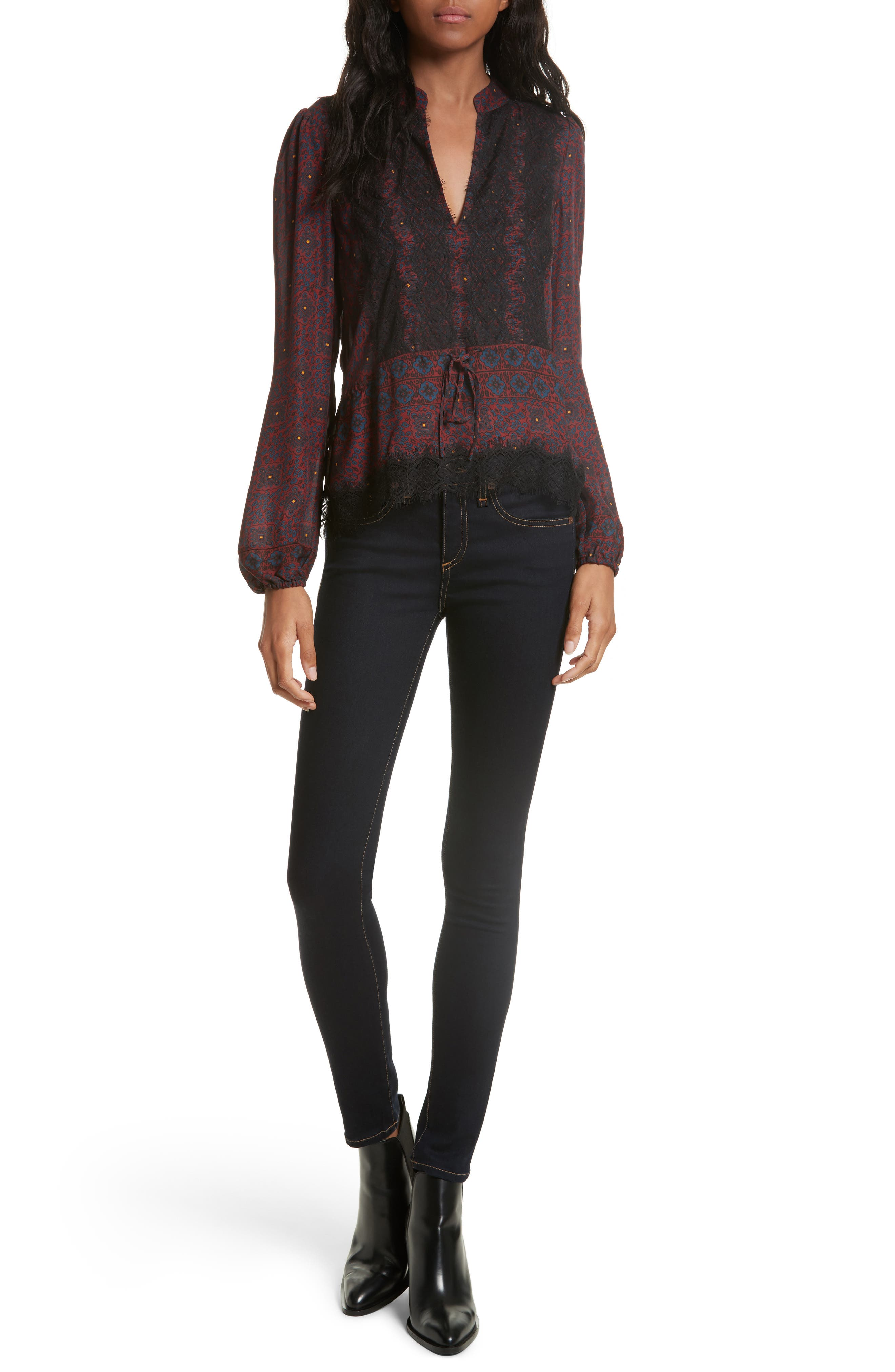 Lindberg Lace Trim Print Silk Blouse,                             Alternate thumbnail 2, color,                             Bordeaux/ Navy