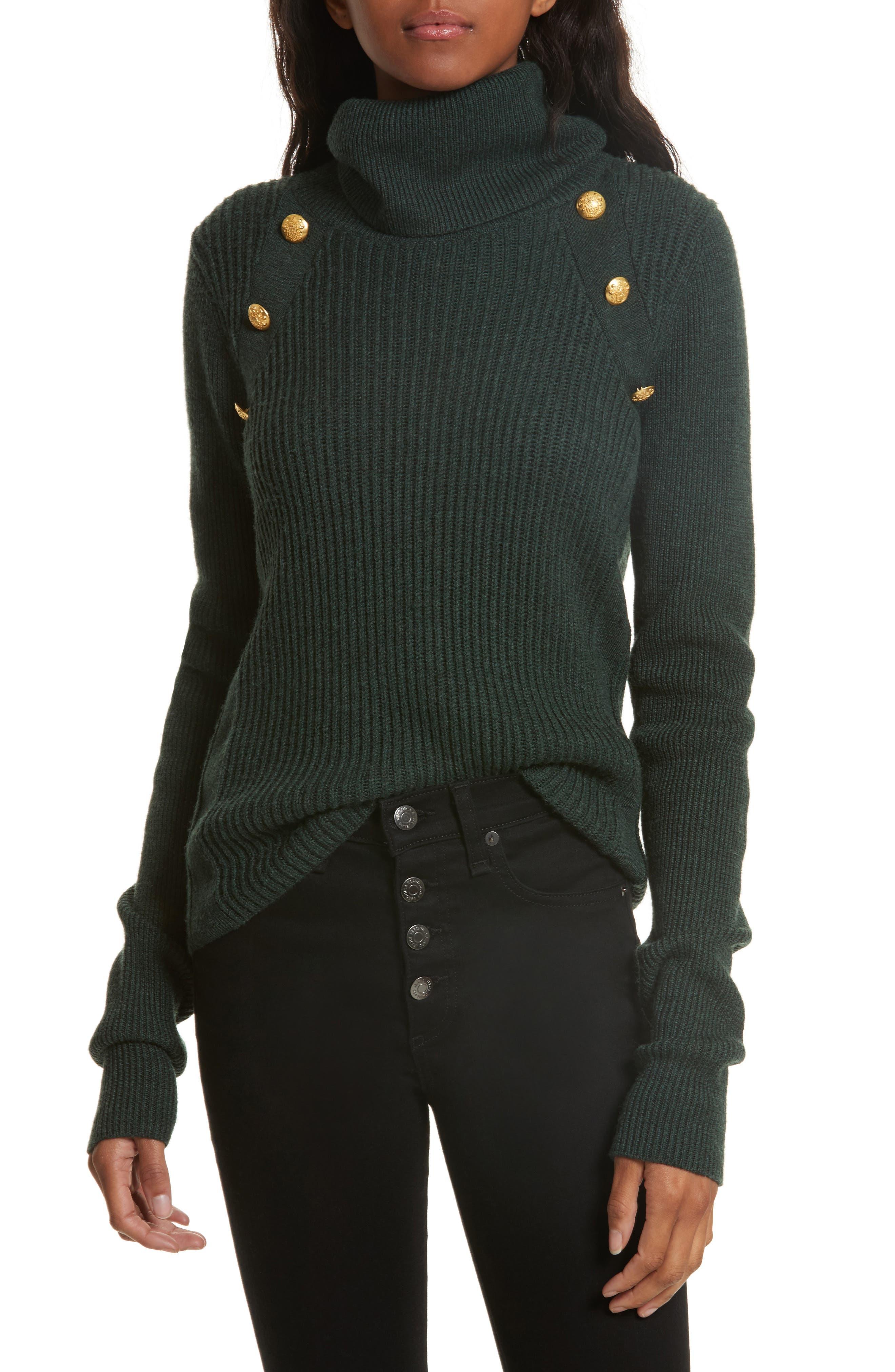 Veronica Beard Pearson Button Detail Merino Wool Sweater