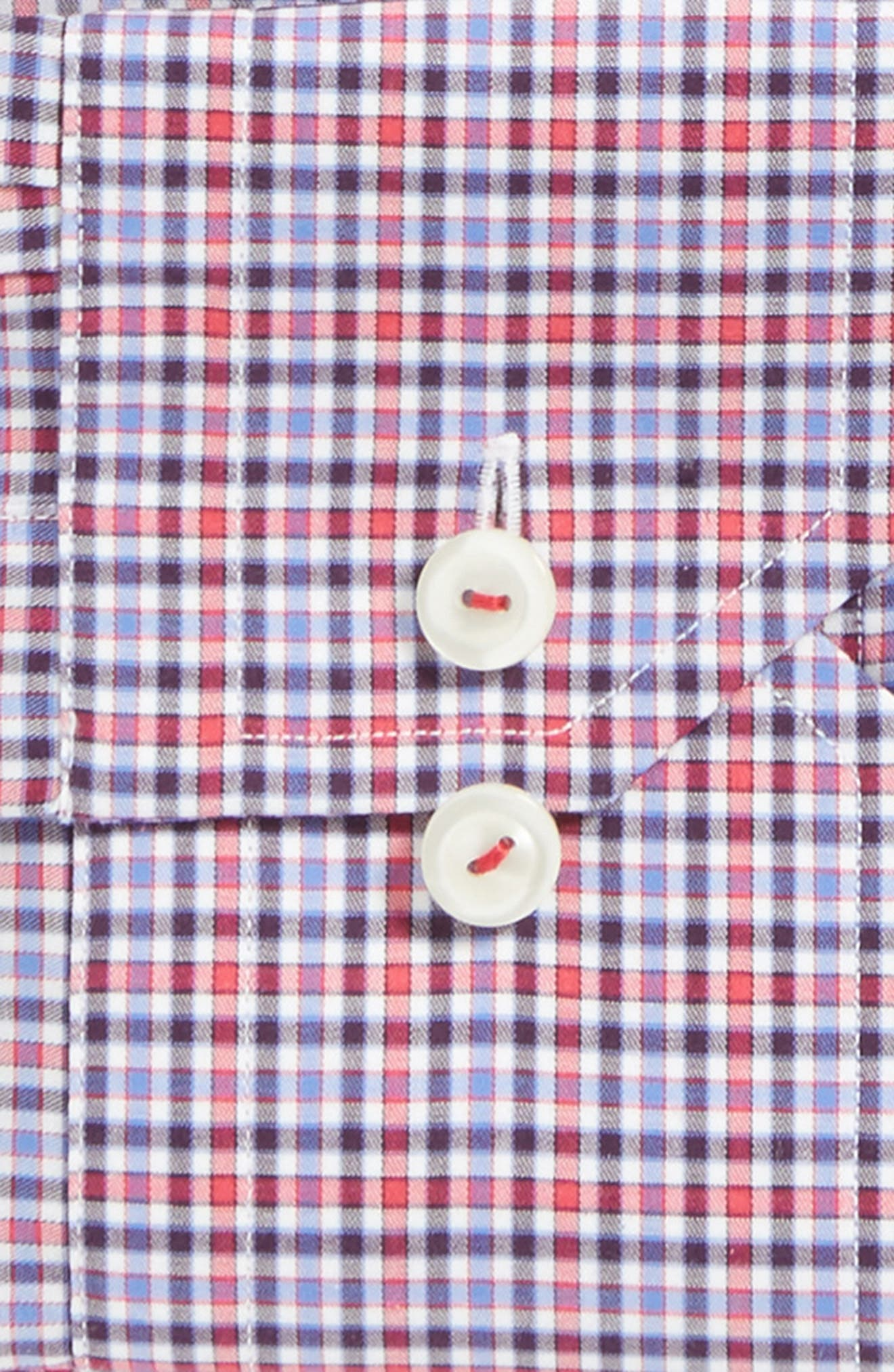 Contemporary Fit Check Dress Shirt,                             Alternate thumbnail 4, color,                             Pink/ Red