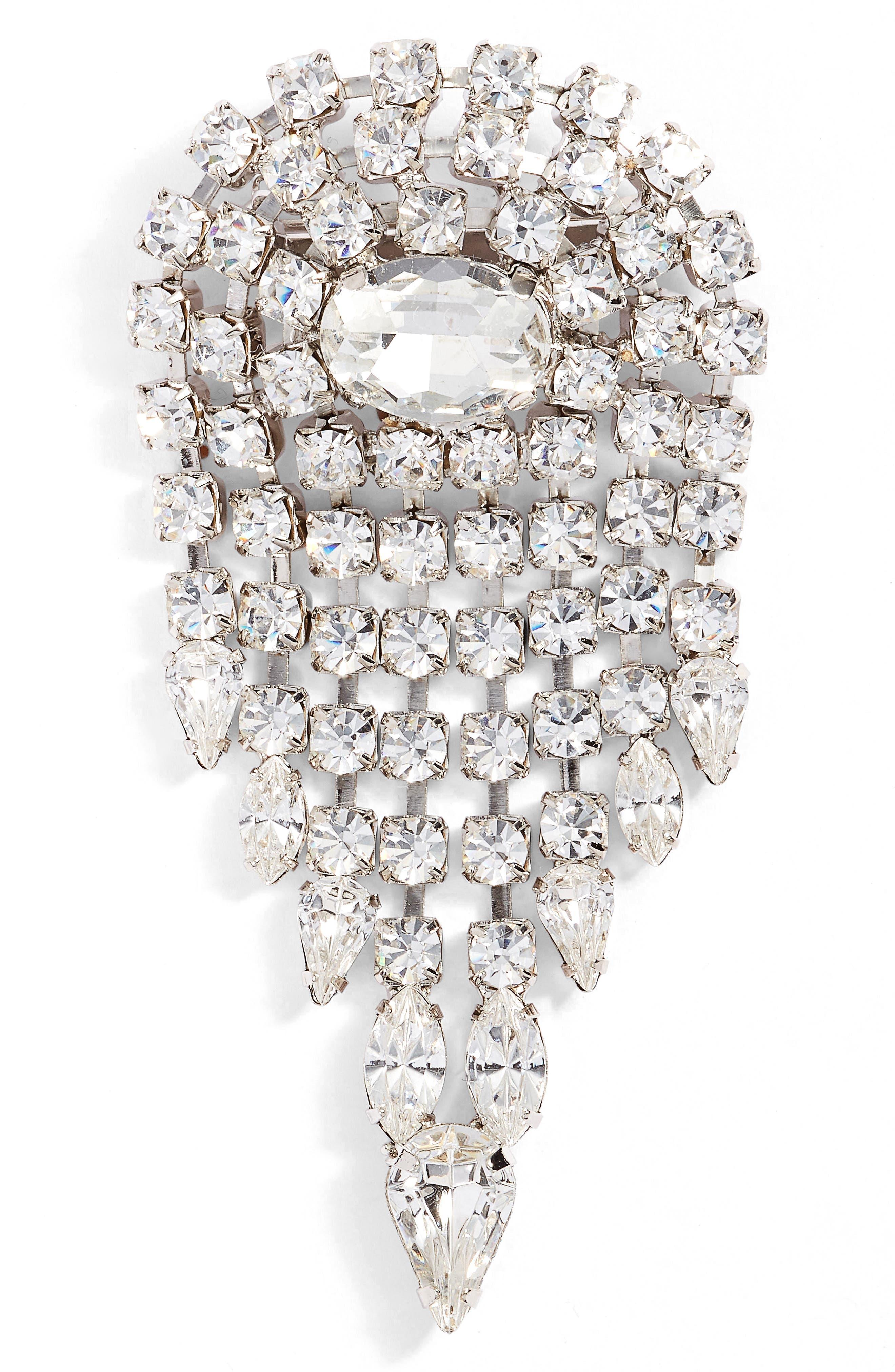 Deco Crystal Pin,                         Main,                         color, Silver
