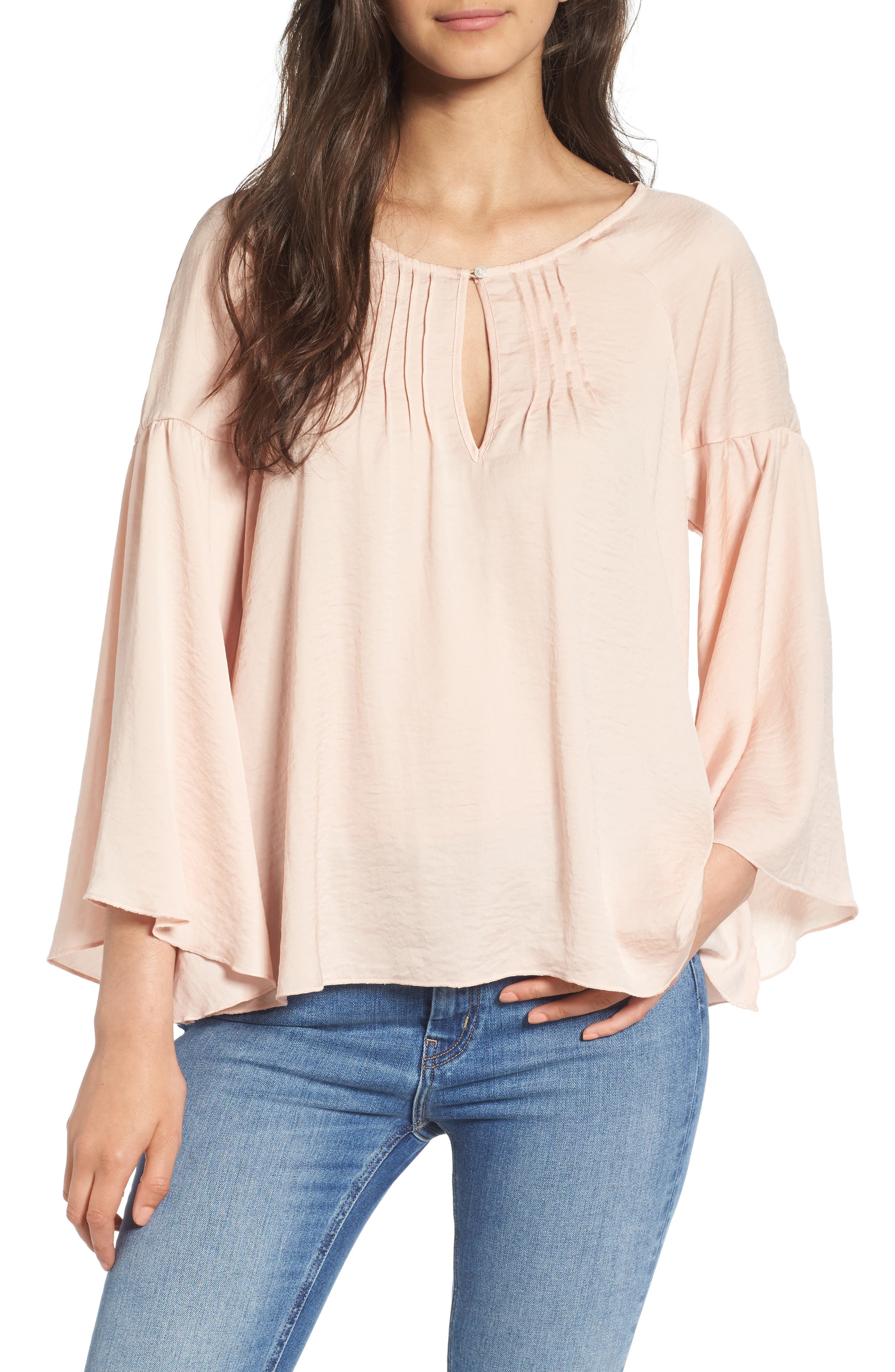 Hinge Satin Bell Sleeve Top