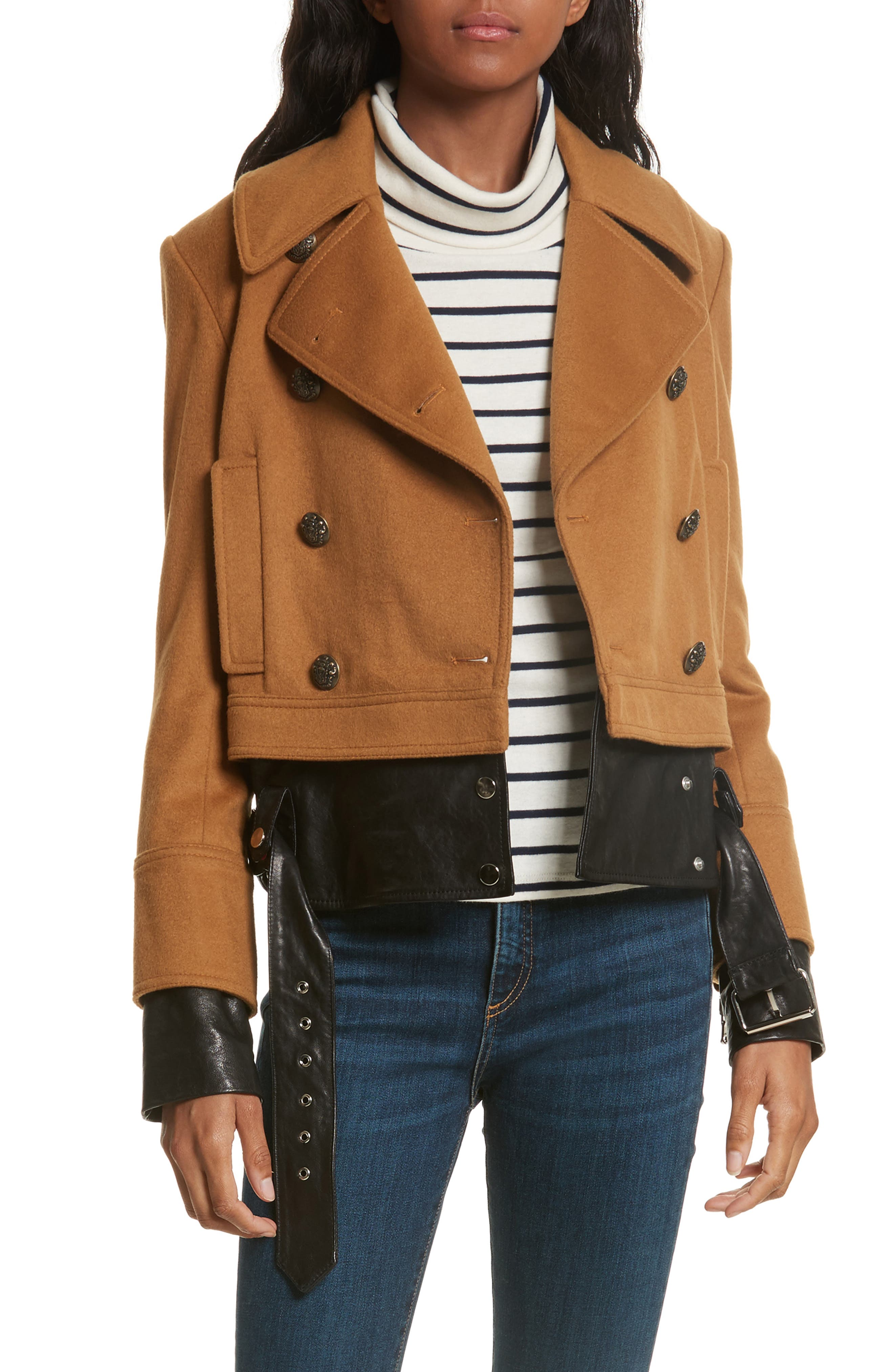 Yara Leather Hem Peacoat,                             Main thumbnail 1, color,                             Camel