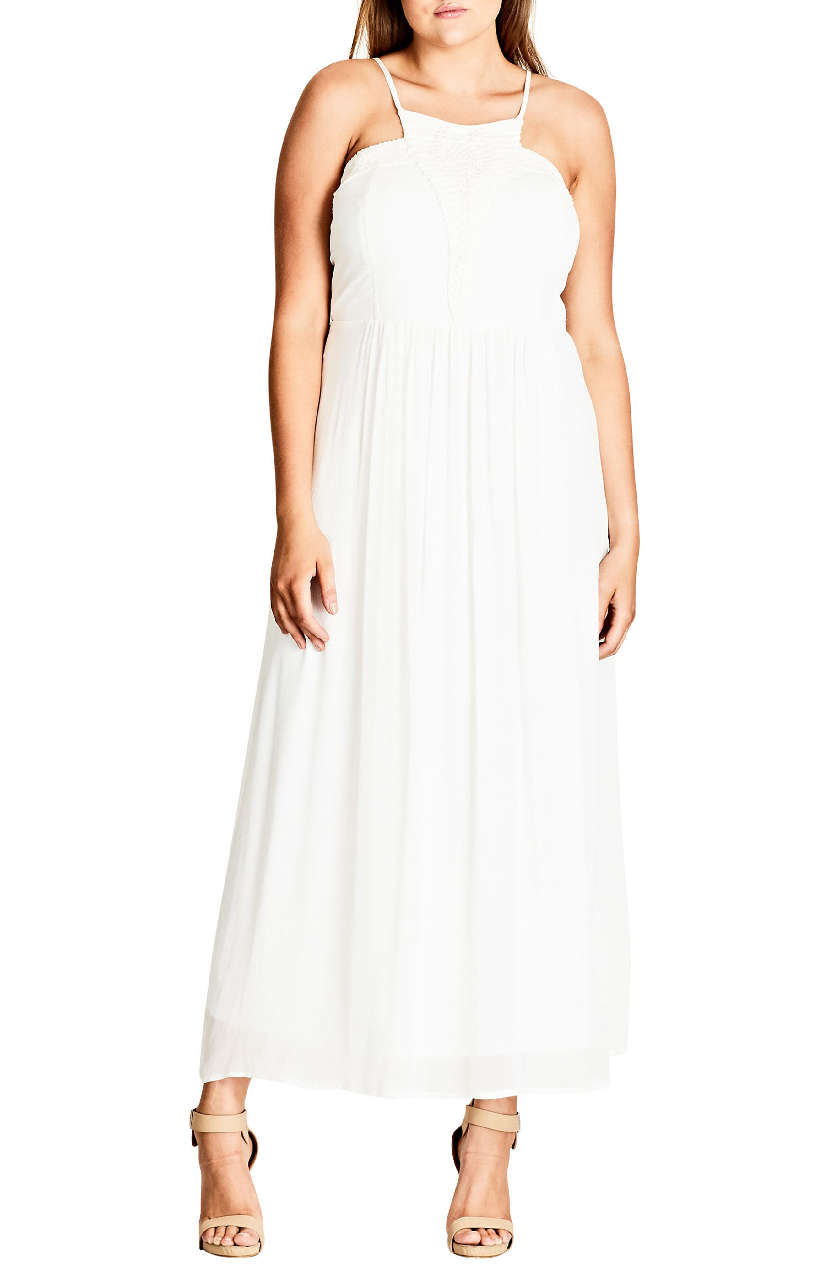 Purity Halter Style Maxi Dress,                         Main,                         color, Ivory