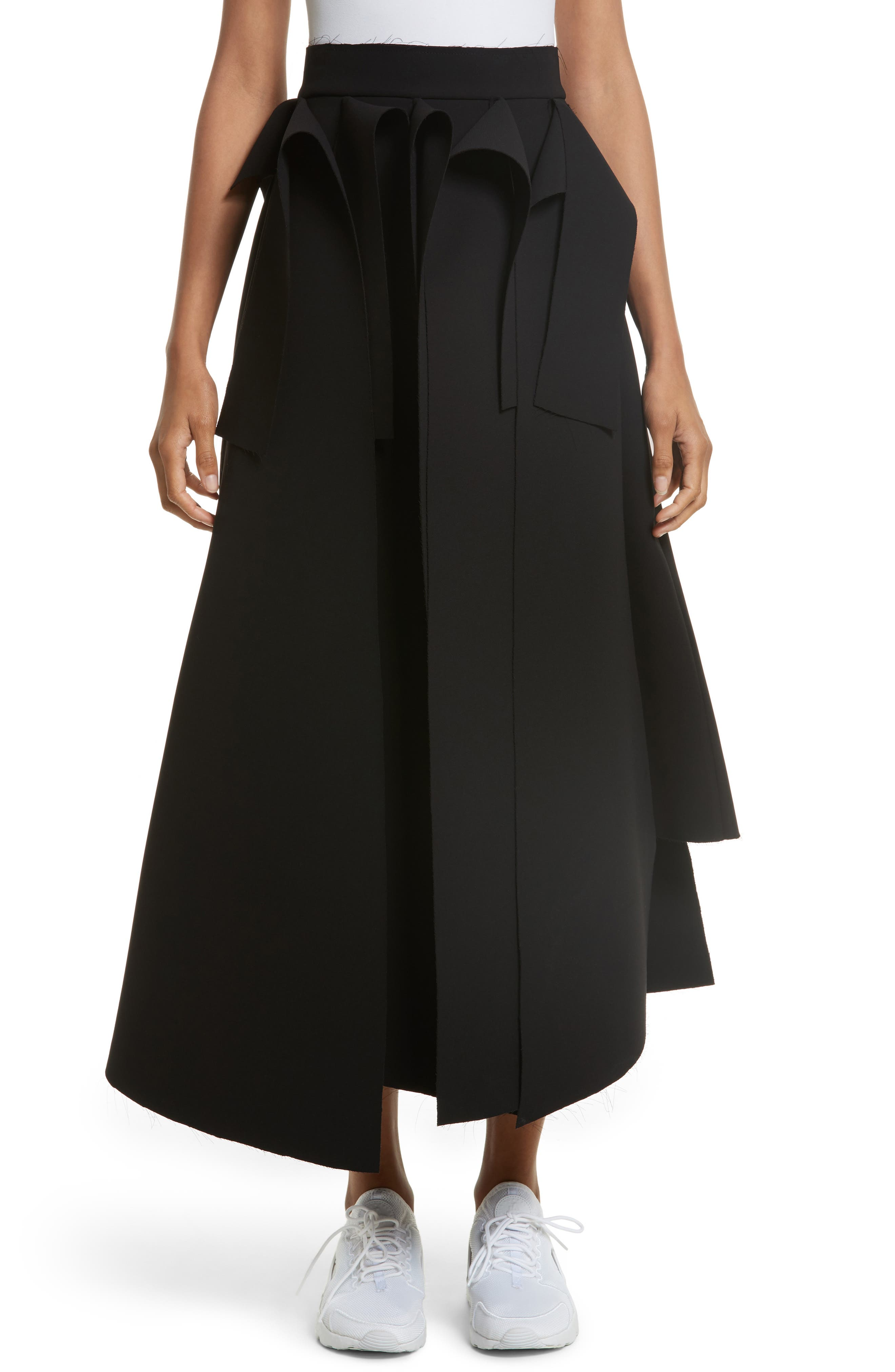 Asymmetric Panel Skirt,                         Main,                         color, Black