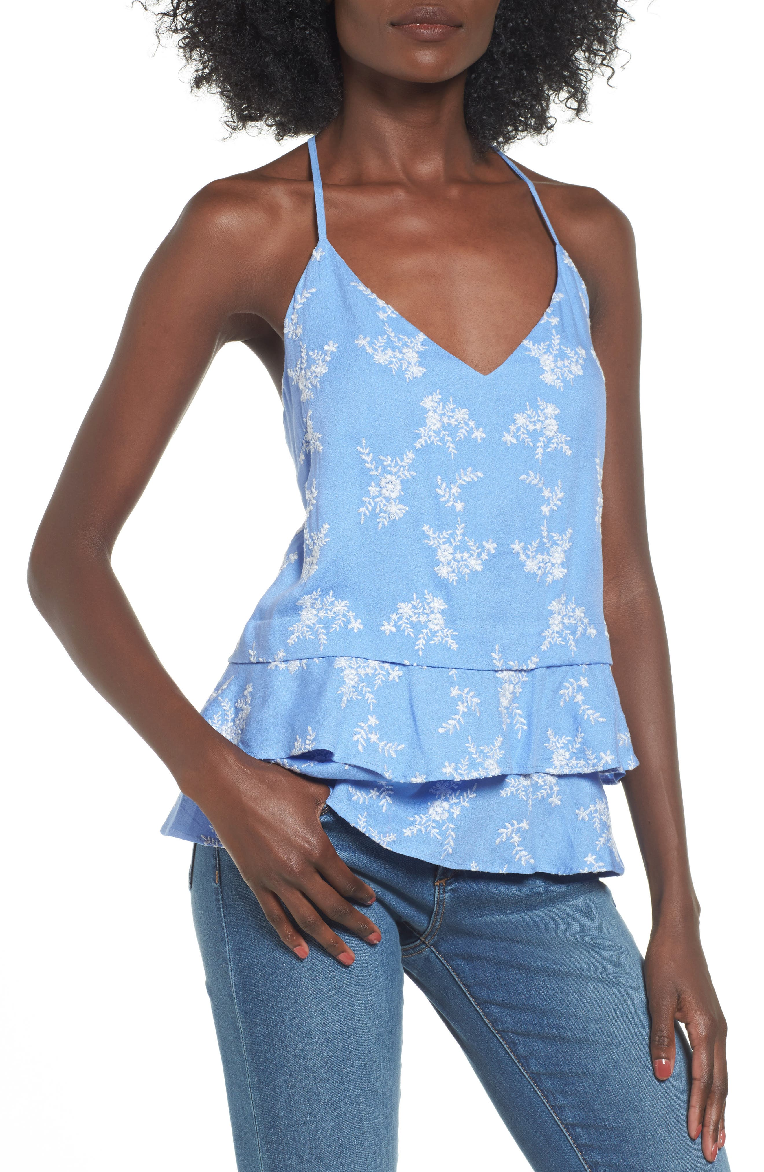 Macey Embroidered Tank,                         Main,                         color, Cornflower