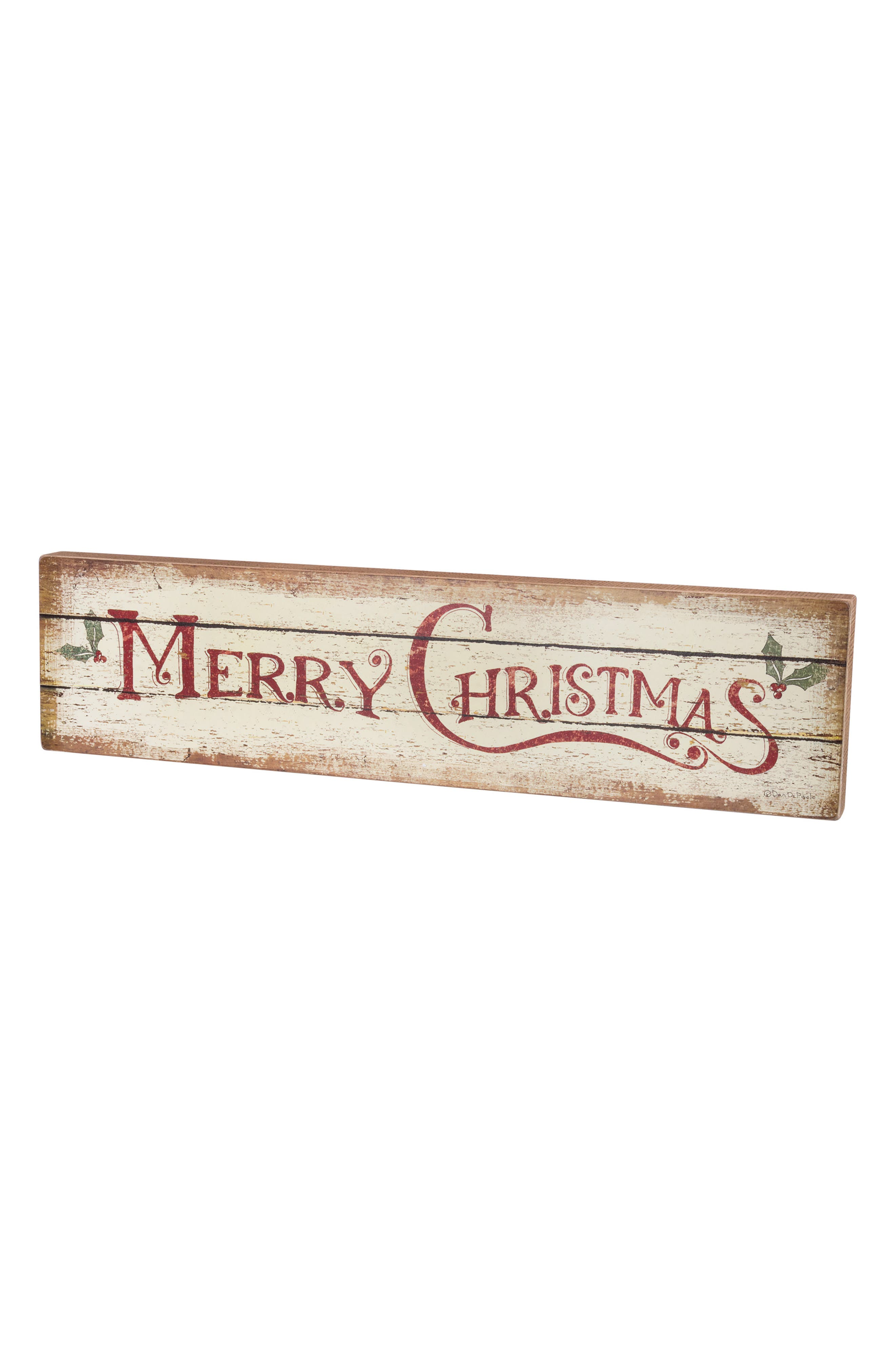 Merry Christmas Box Sign,                         Main,                         color, Ivory