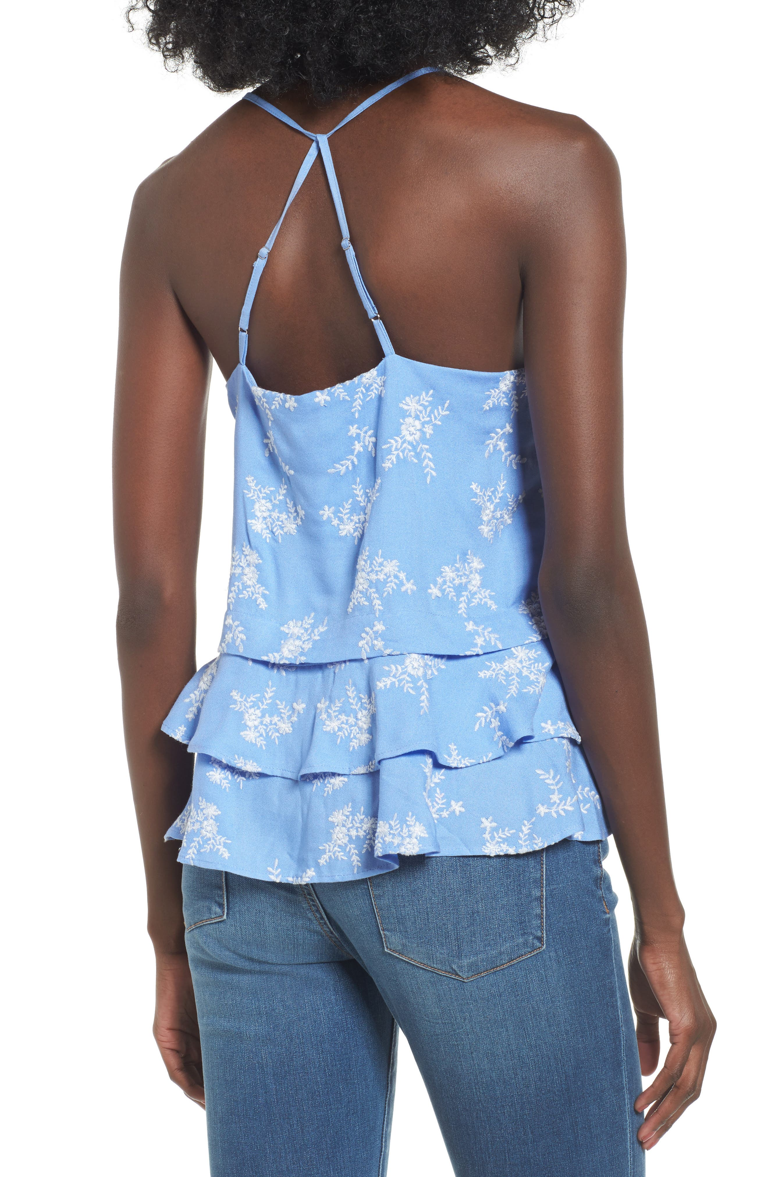 Macey Embroidered Tank,                             Alternate thumbnail 2, color,                             Cornflower