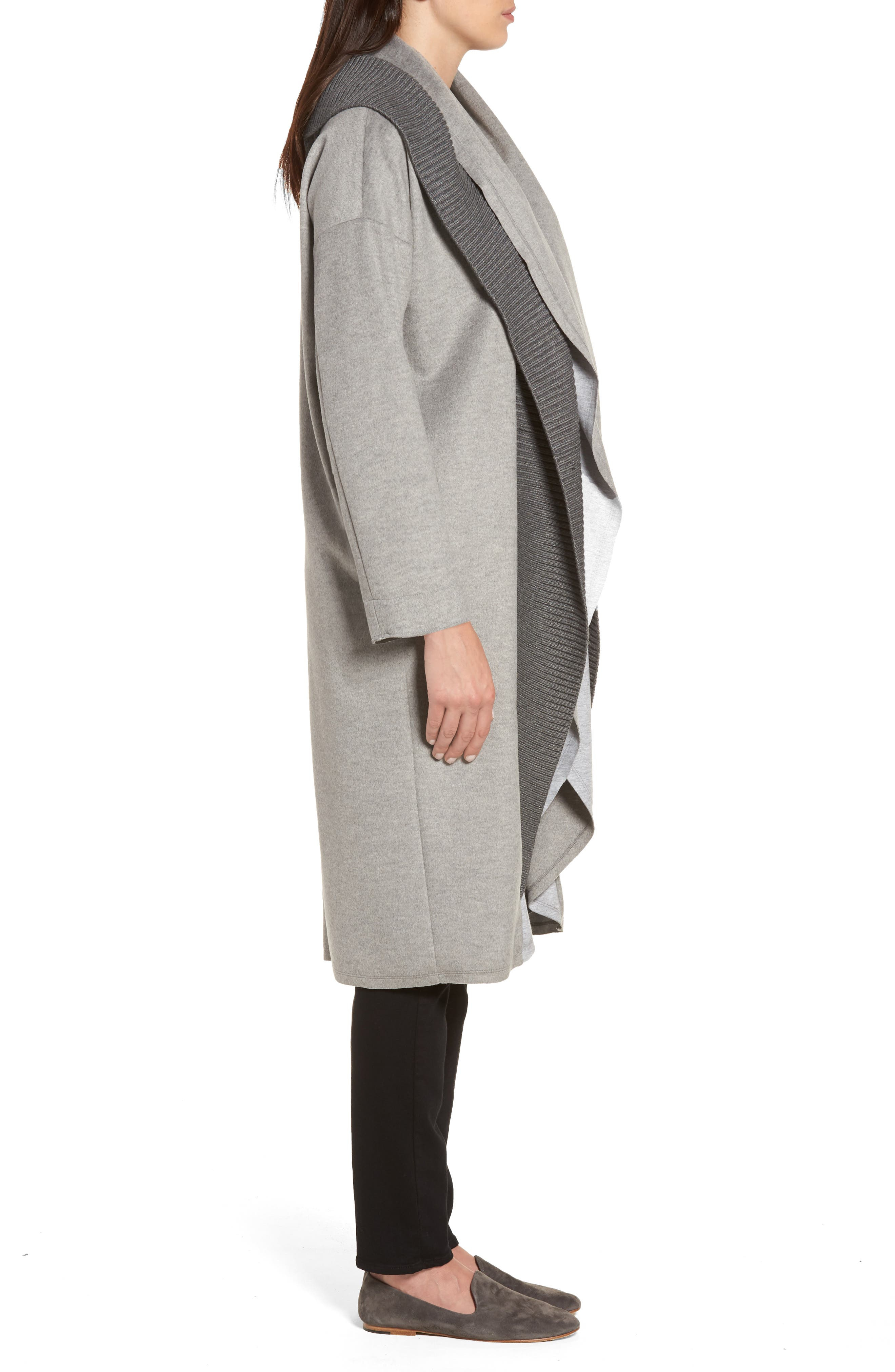 Brandy Stone Grey Duster Coat,                             Alternate thumbnail 3, color,                             Stone Grey