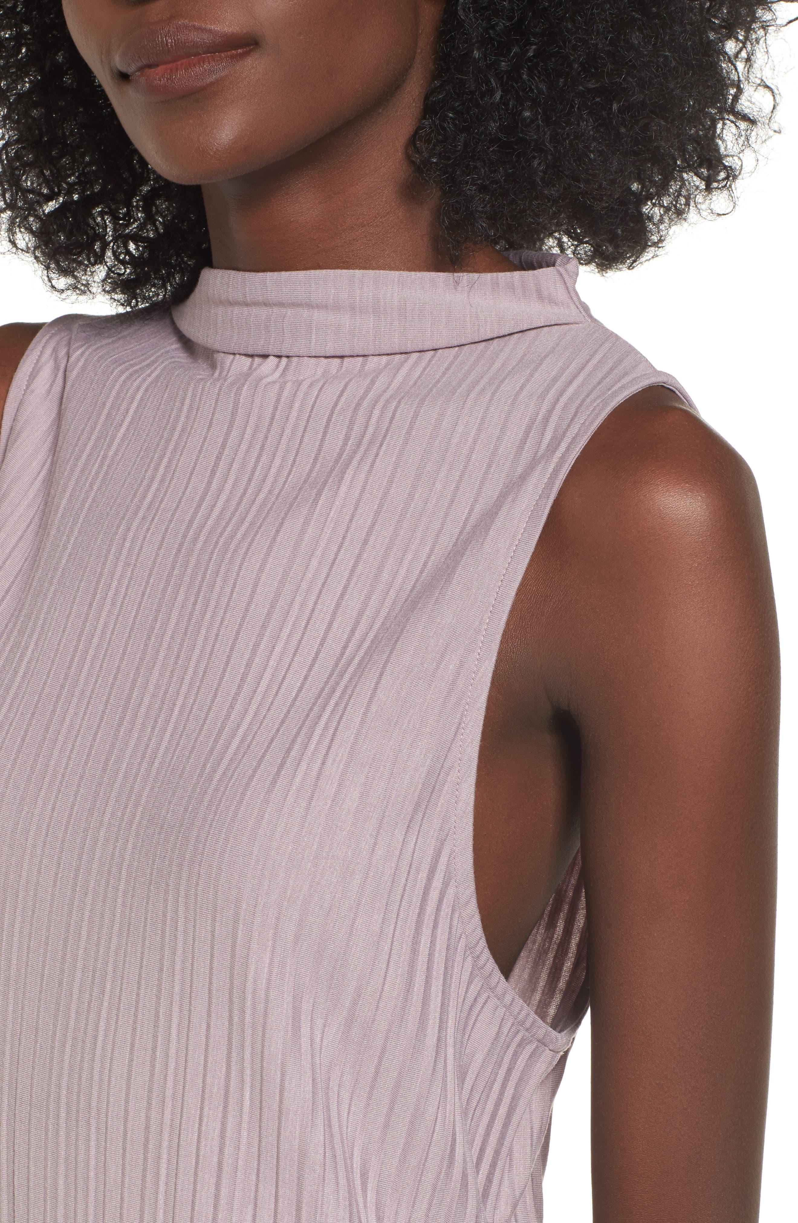 Plissé Pleat Shift Dress,                             Alternate thumbnail 4, color,                             Purple Quail