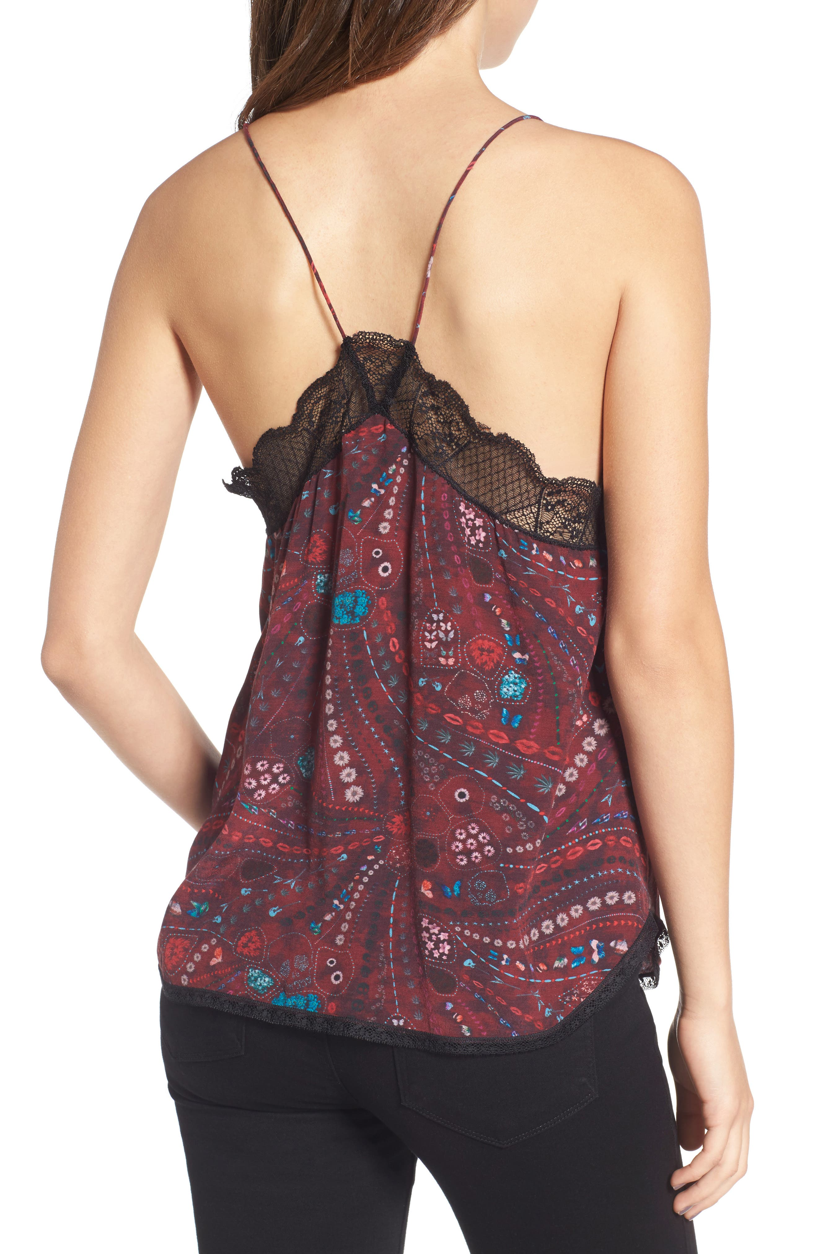 Christy Print Silk Camisole,                             Alternate thumbnail 2, color,                             Grenat
