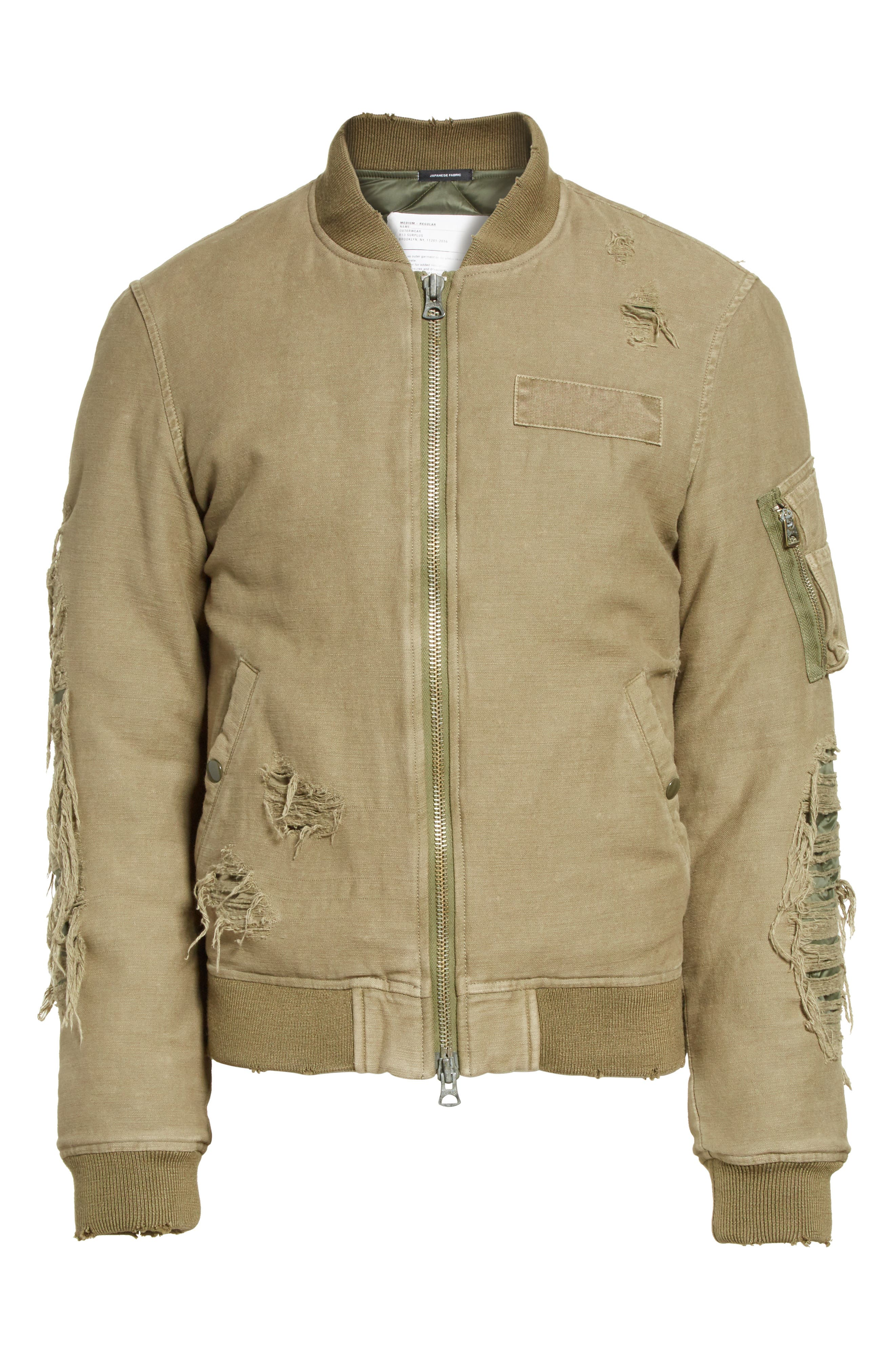 Alternate Image 6  - R13 Ripped Canvas Bomber