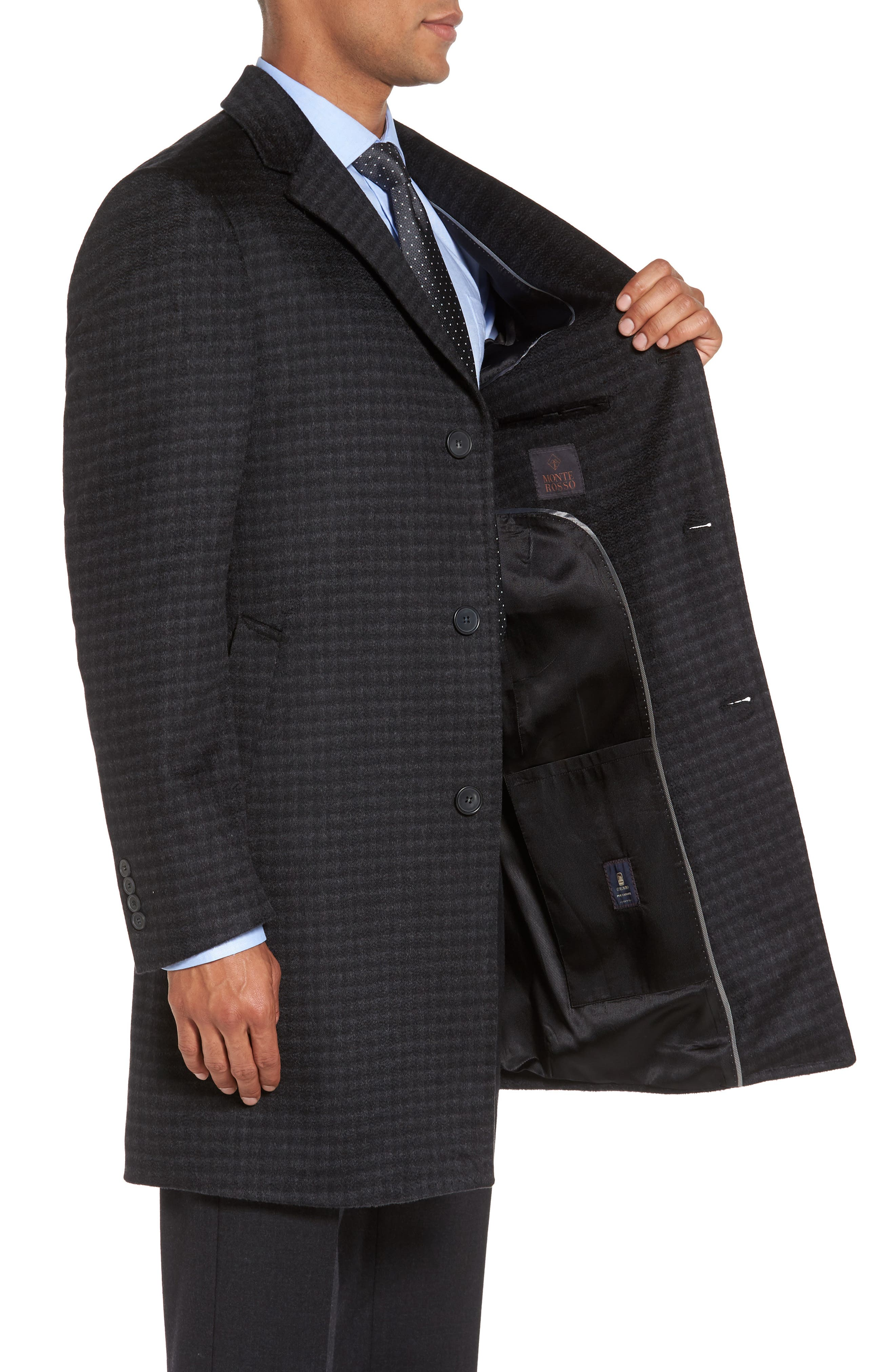 Cameron Check Cashmere Overcoat,                             Alternate thumbnail 3, color,                             Charcoal