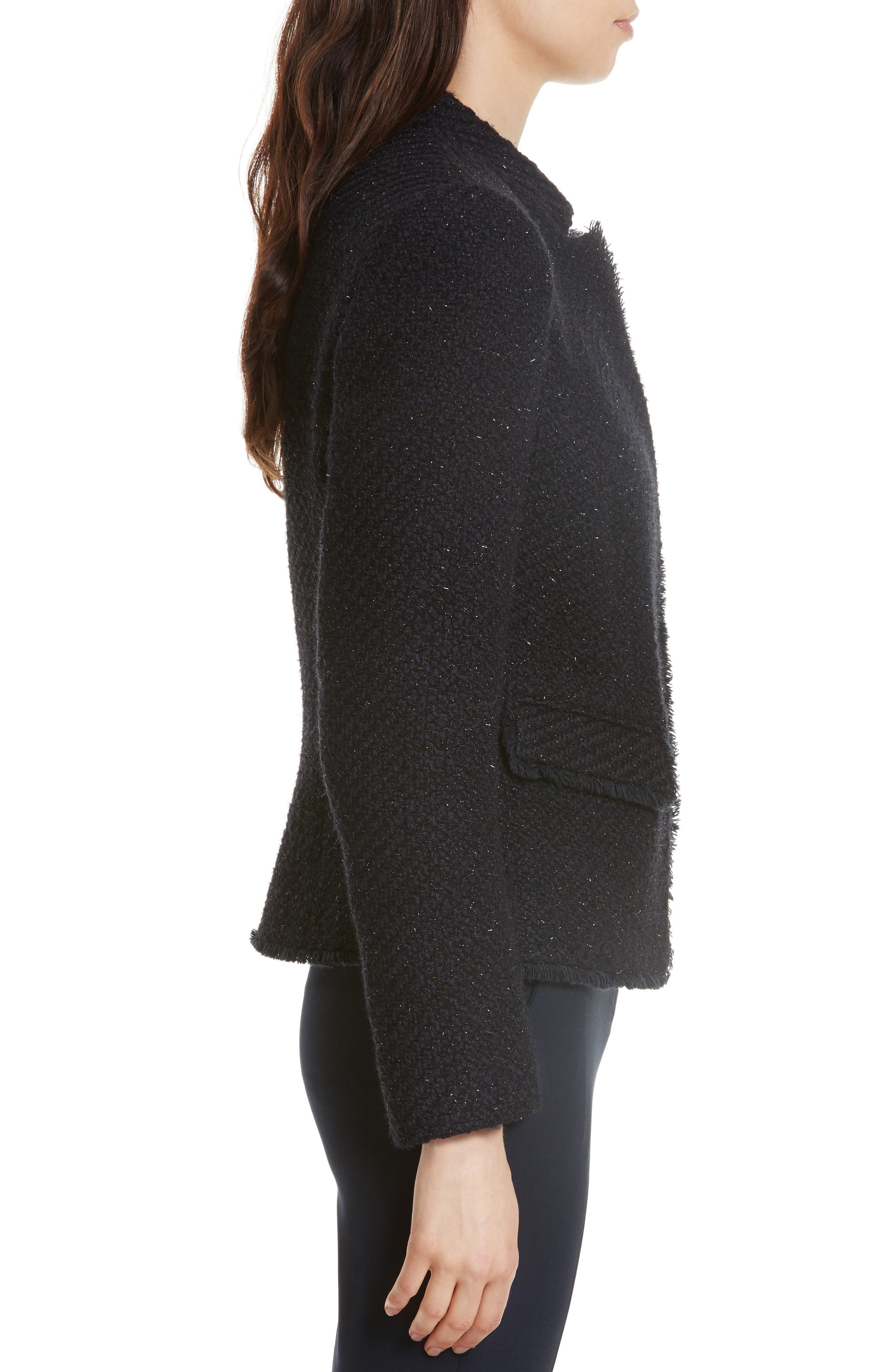 Glitter Tweed Jacket,                             Alternate thumbnail 3, color,                             Navy