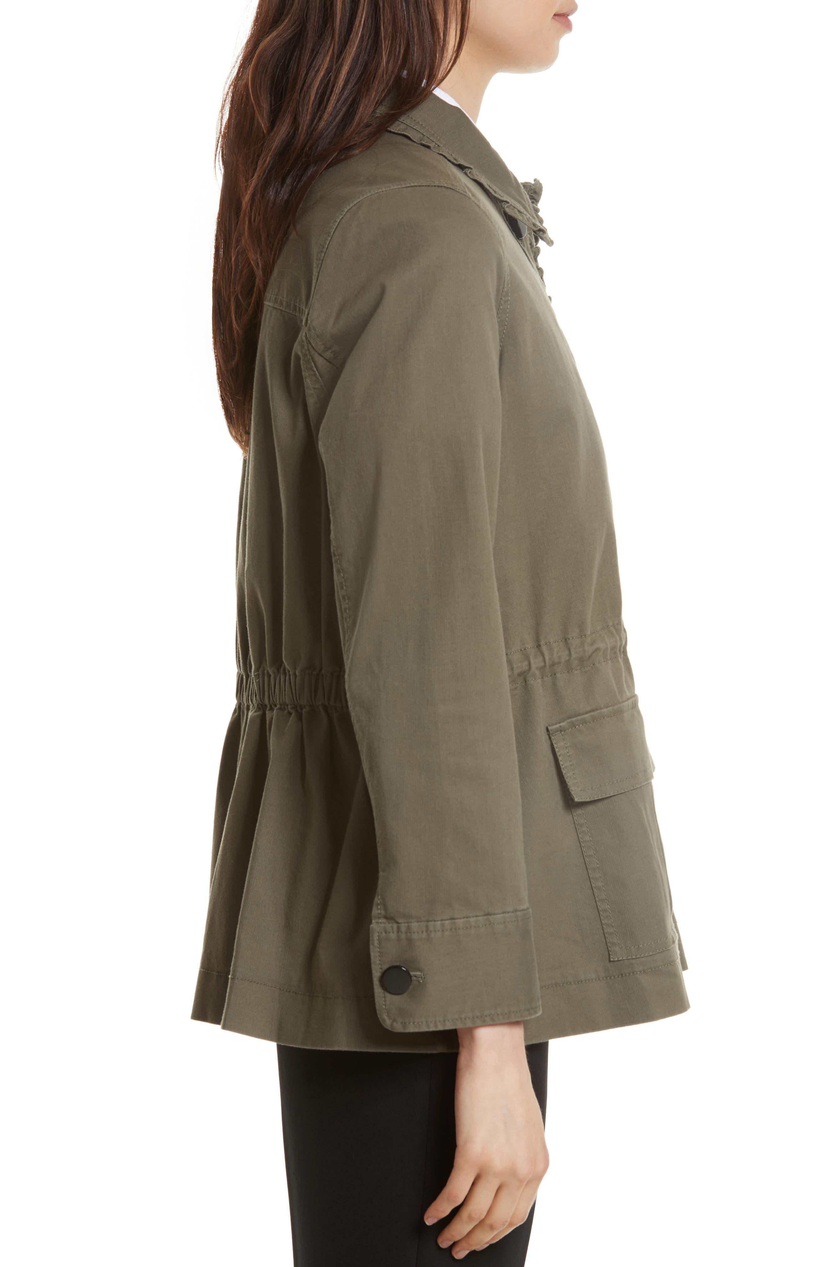 ruffle military jacket,                             Alternate thumbnail 3, color,                             Green
