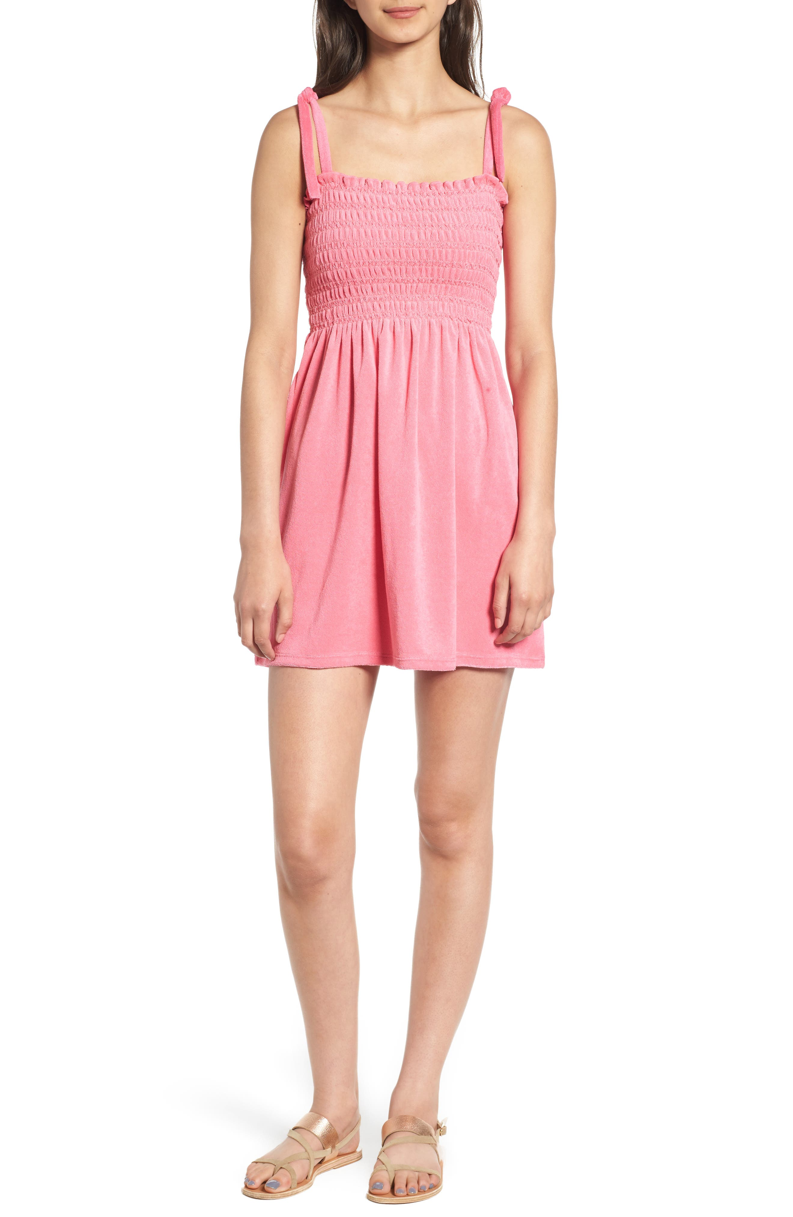 Venice Beach Microterry Smocked Dress,                         Main,                         color, Precocious Pink