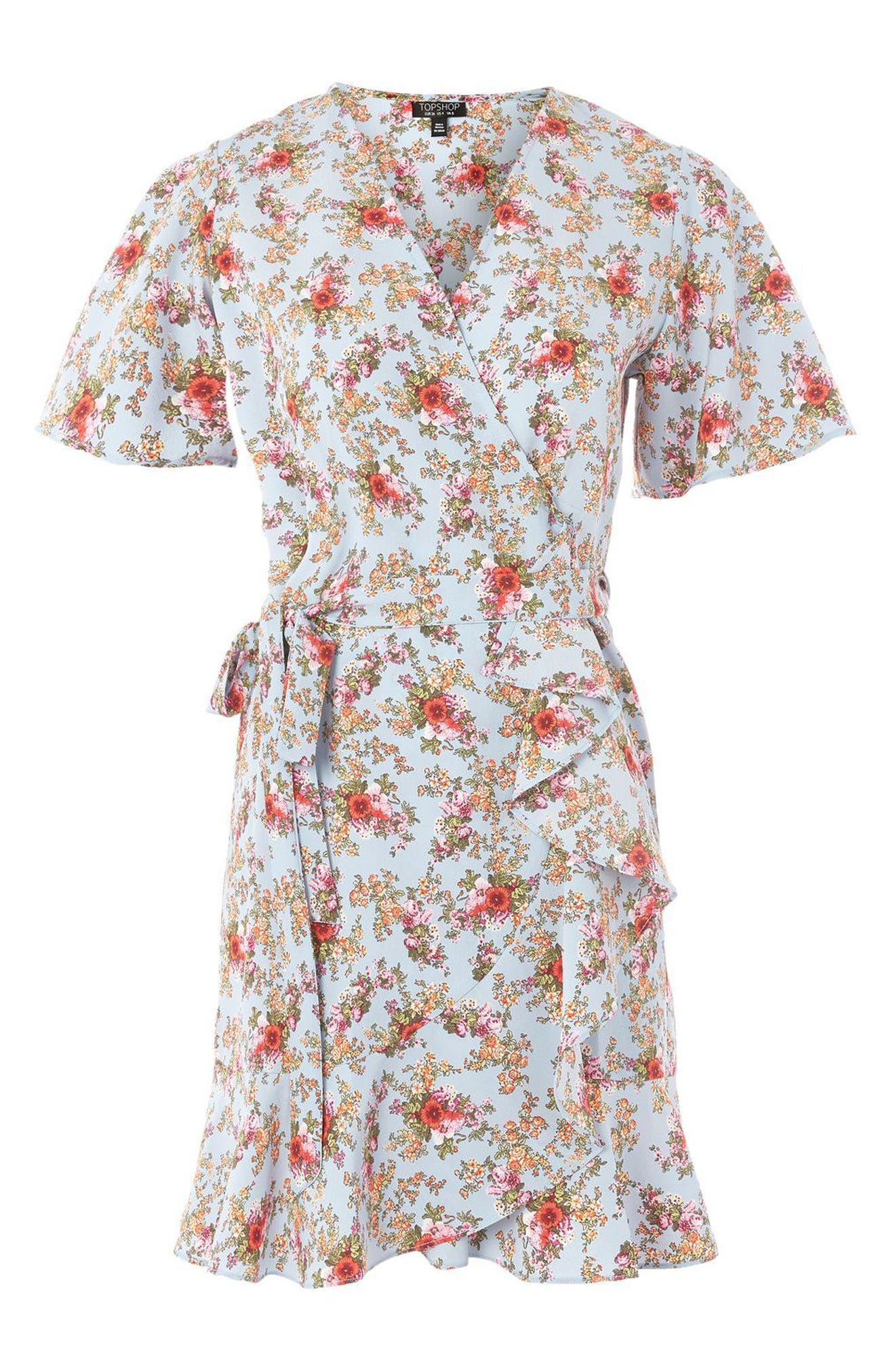 Main Image - Topshop Confetti Floral Wrap Tea Dress