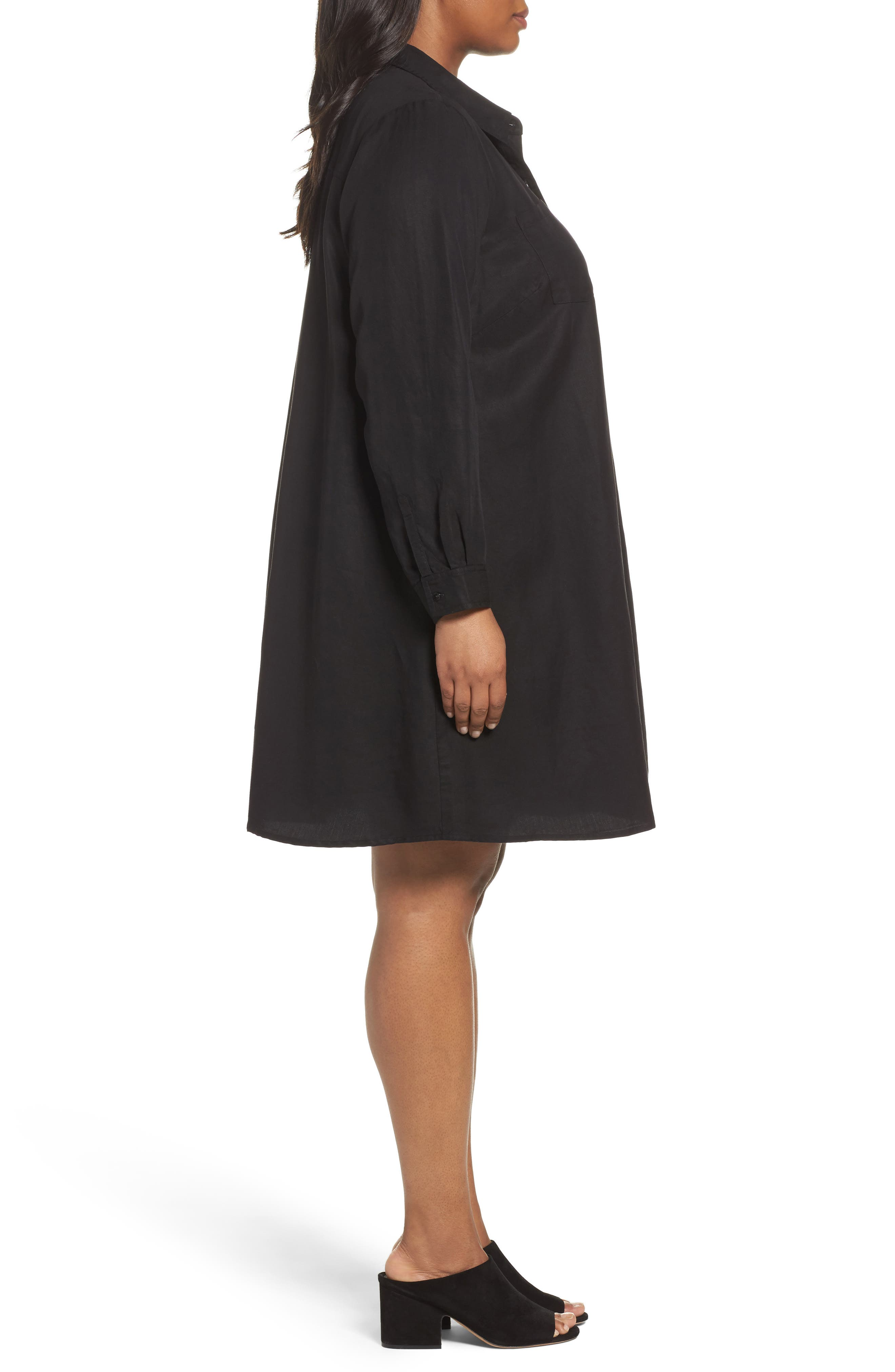 Alternate Image 3  - Eileen Fisher Classic Collar A-Line Shirtdress (Plus Size)