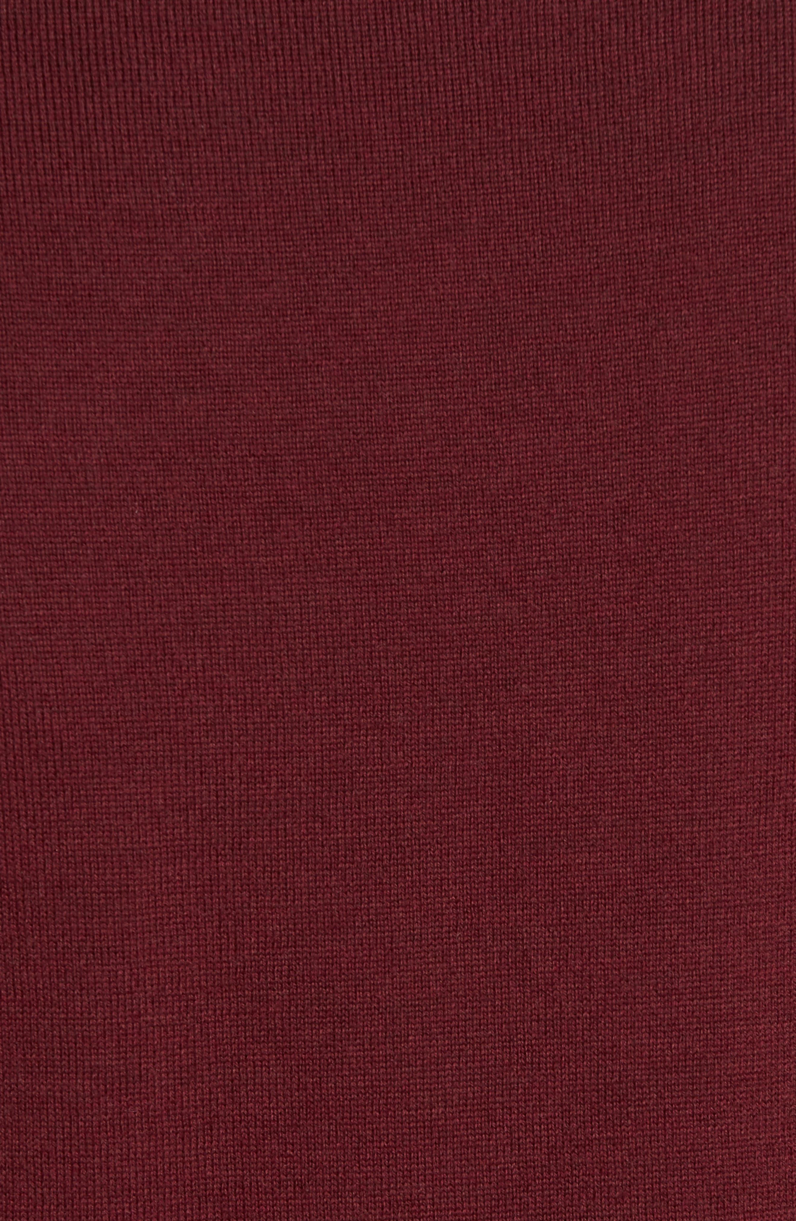 V-Neck Merino Wool Sweater,                             Alternate thumbnail 5, color,                             Burgundy Stem