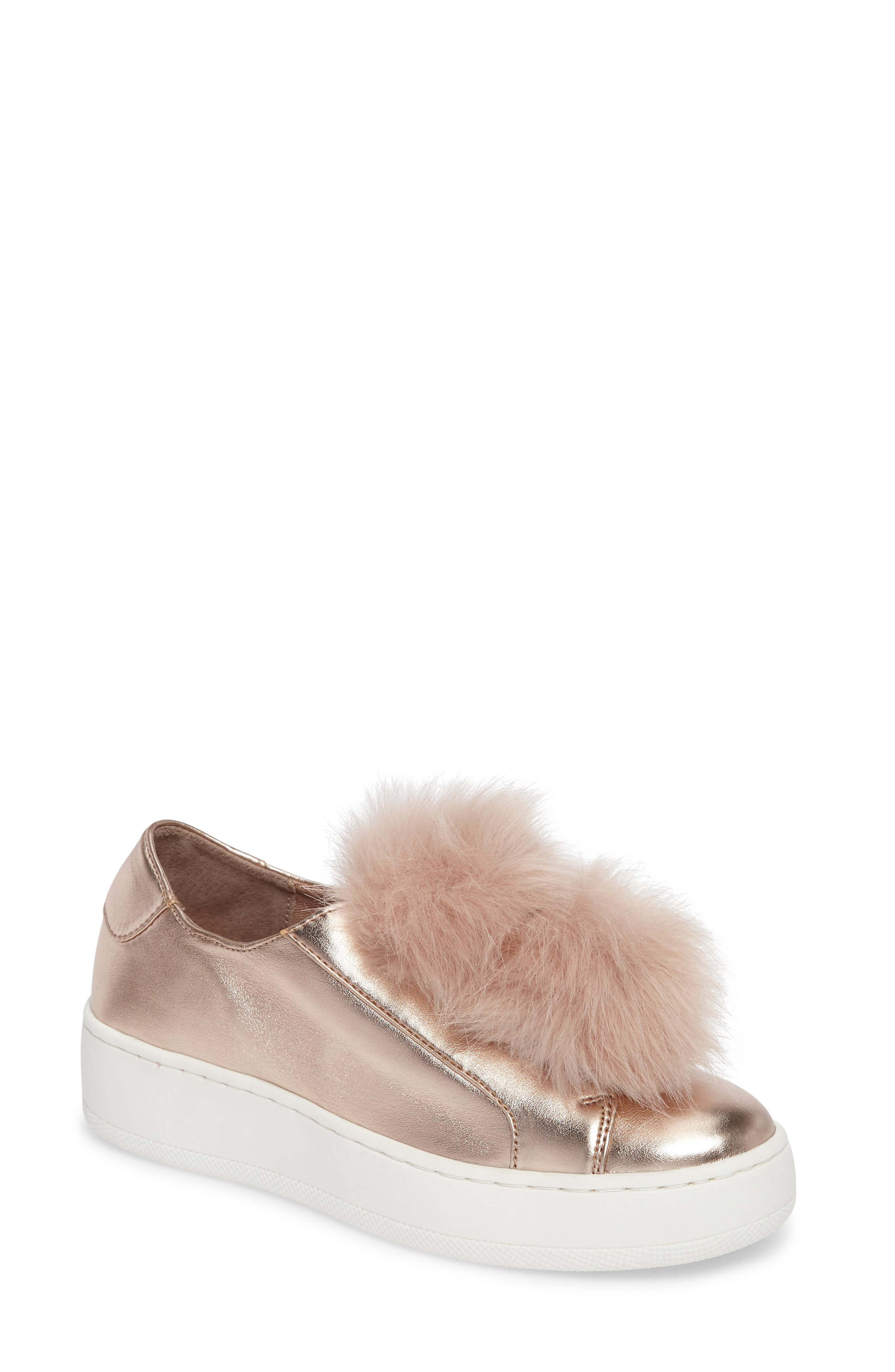 Steve Madden Breeze Faux Fur Pom Sneaker (Women)