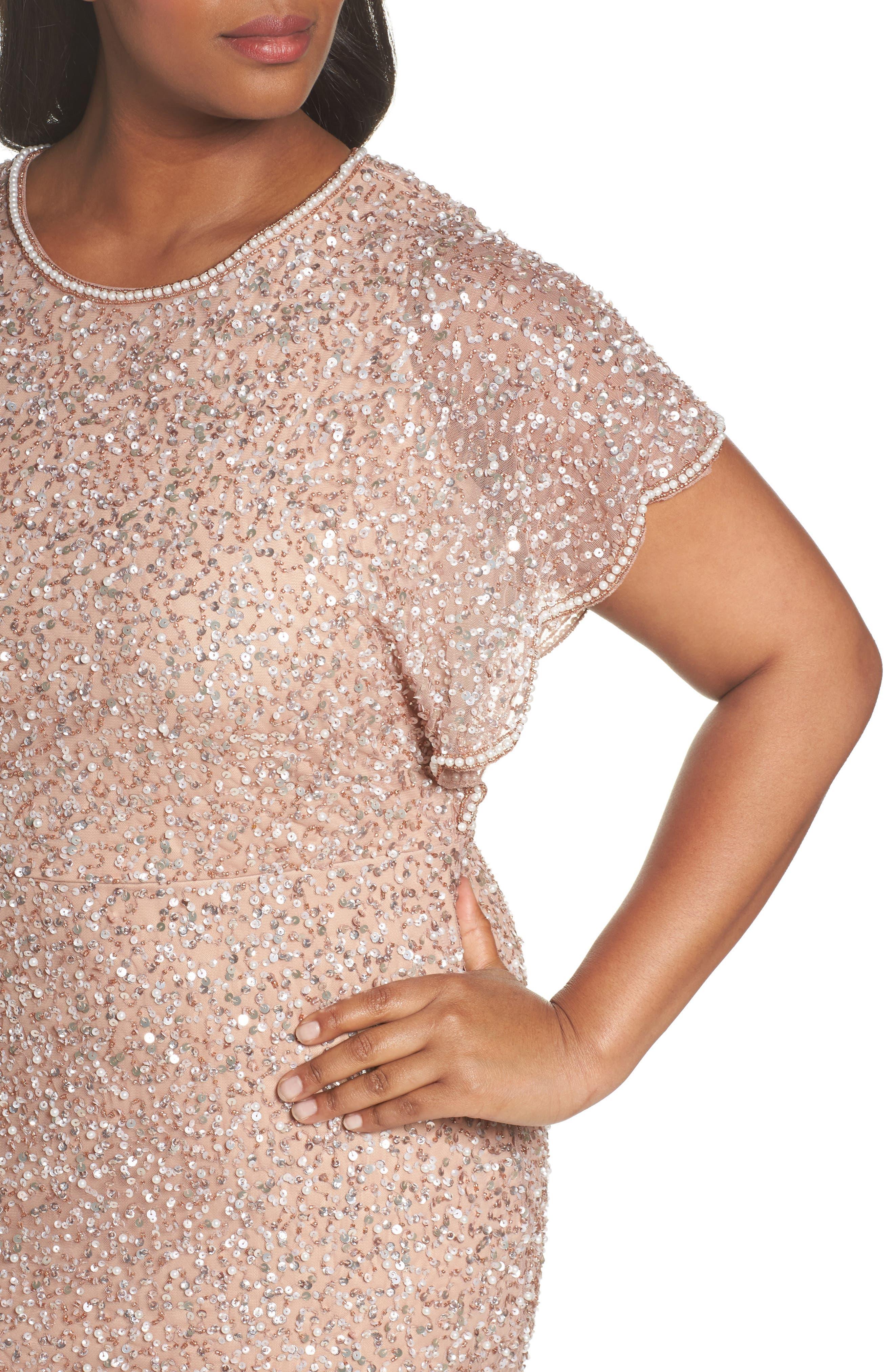 Alternate Image 4  - Adrianna Papell Beaded Flutter Sleeve Sheath Dress (Plus Size)