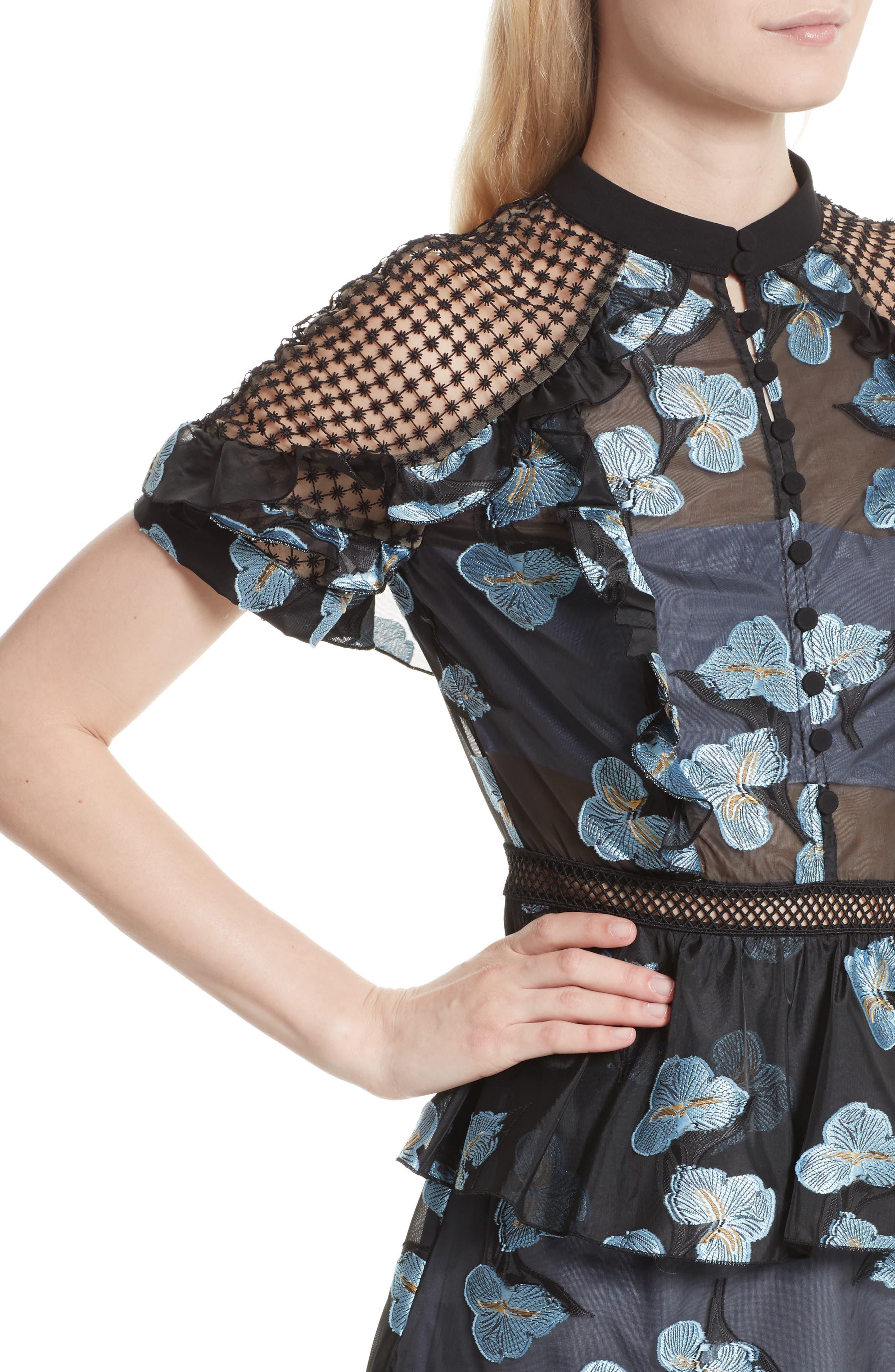 Ruffle Fil Coupé Minidress,                             Alternate thumbnail 4, color,                             Blue