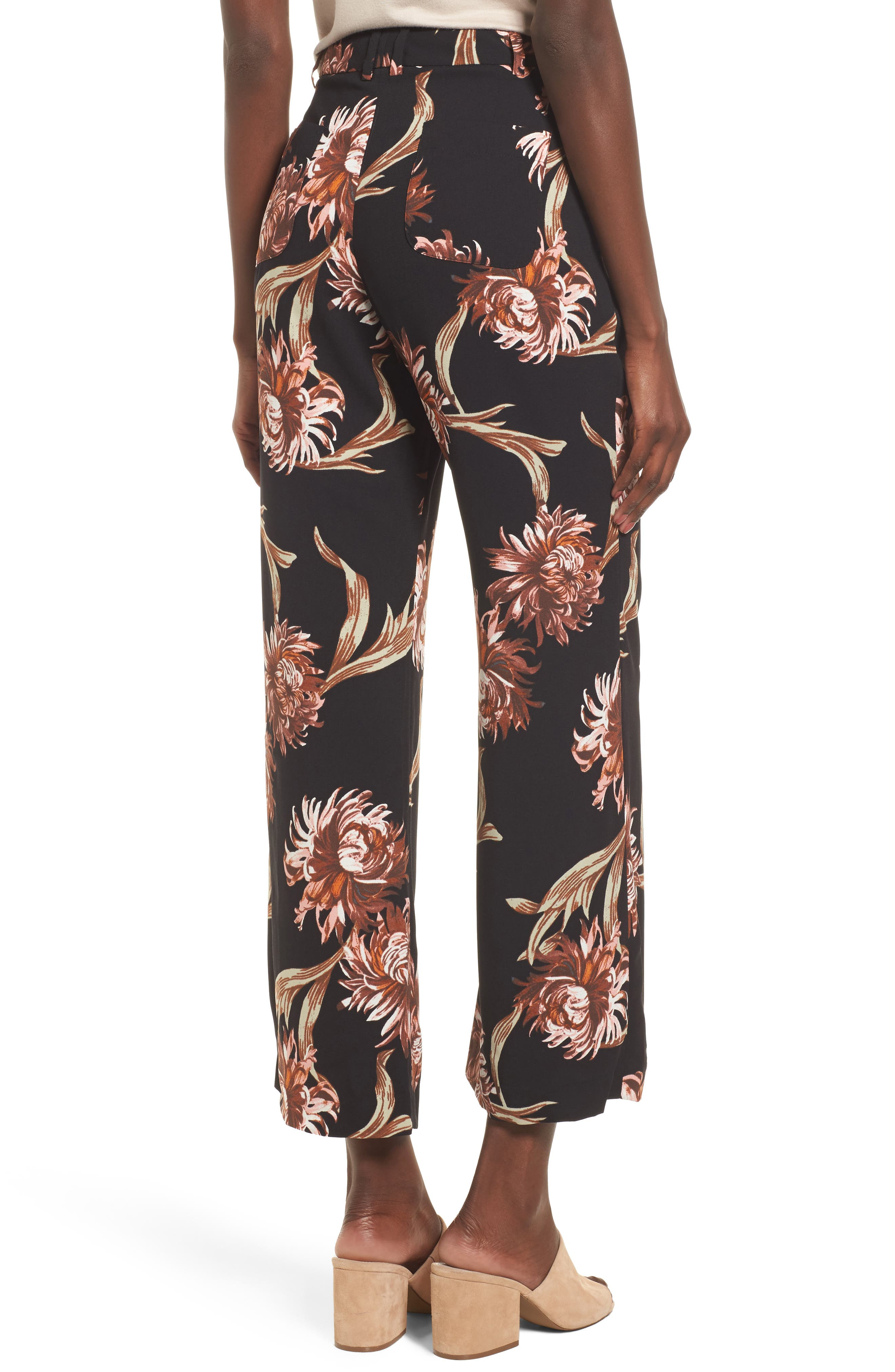 Printed Wide Leg Pants,                             Alternate thumbnail 2, color,                             Black Nouveau Floral