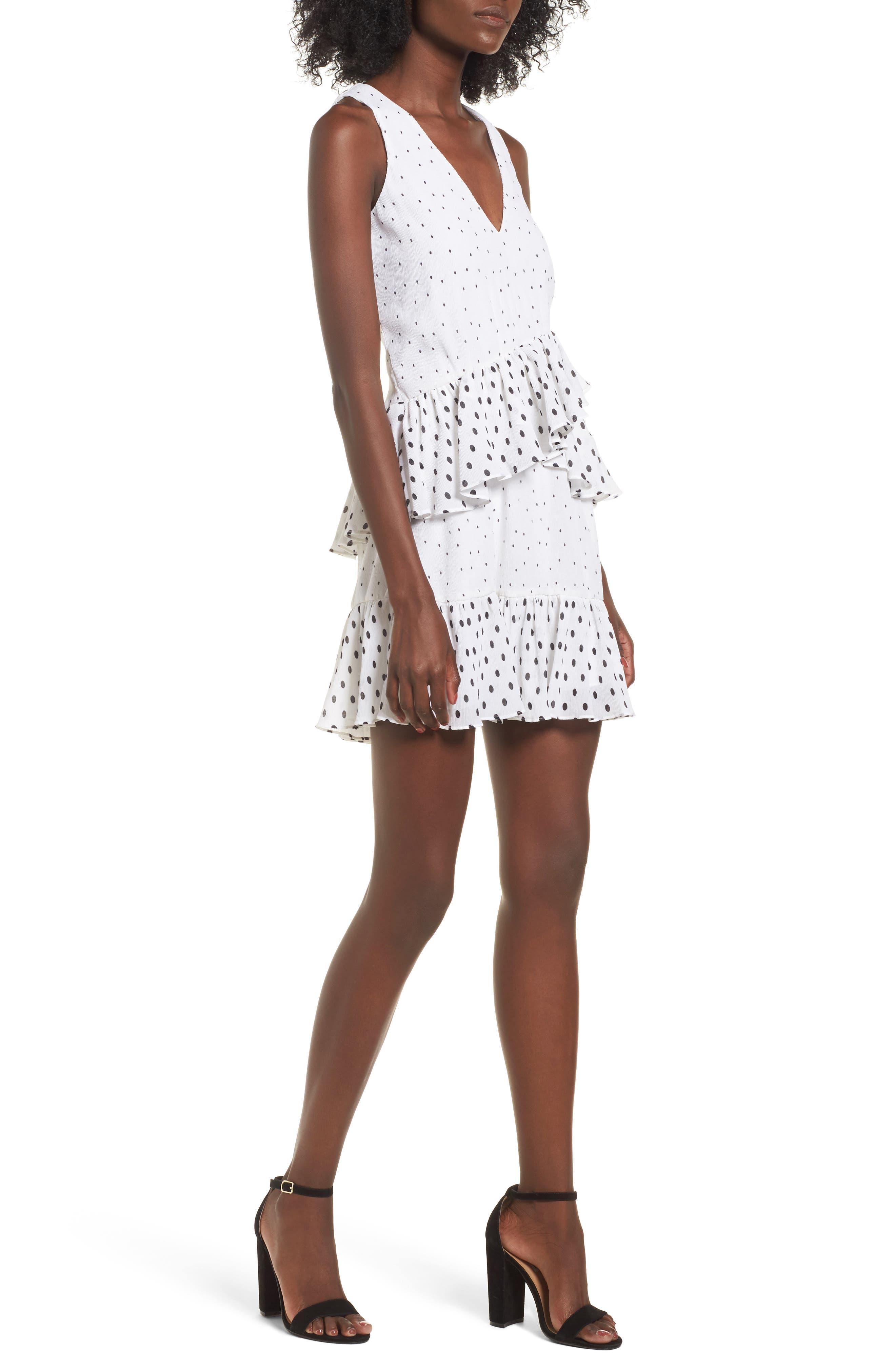 Reina Ruffle A-Line Dress,                         Main,                         color, Ivory