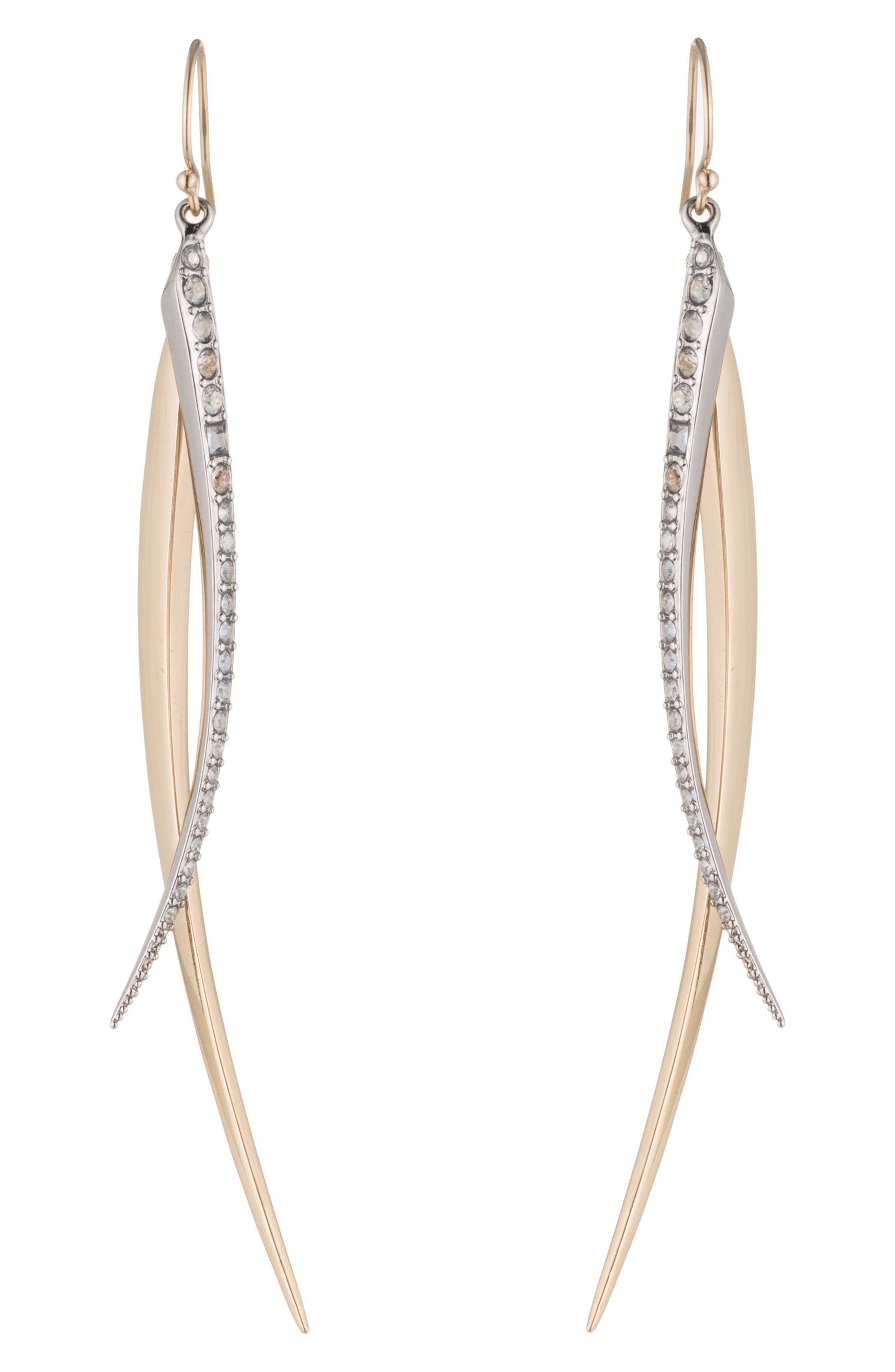 Two-Tone Crystal Drop Earrings,                             Alternate thumbnail 2, color,                             Gold