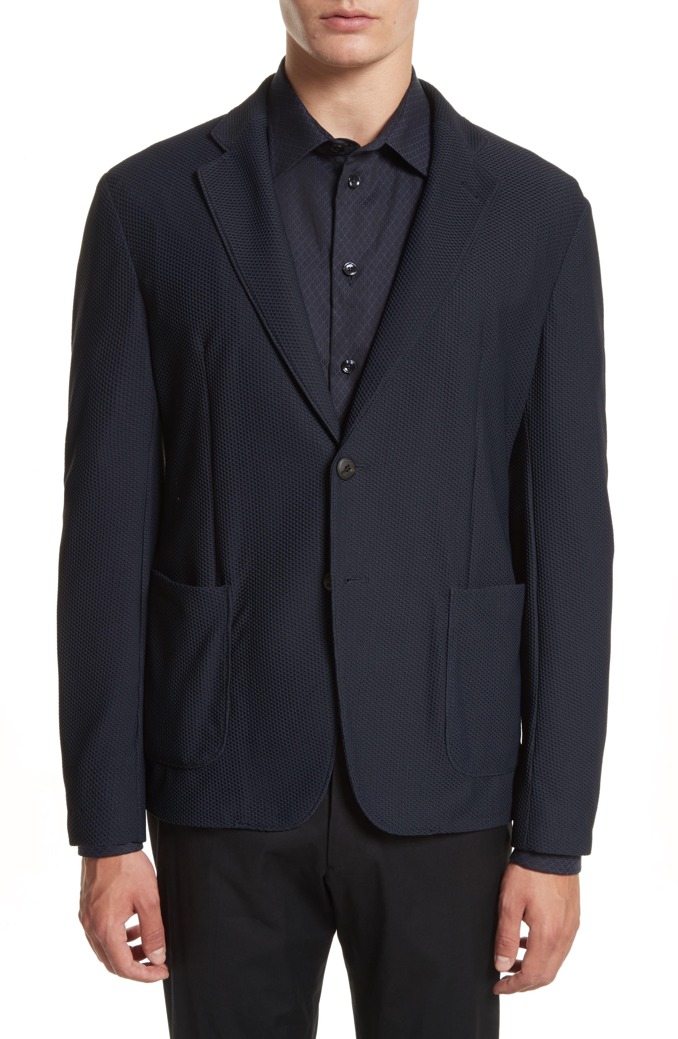 Mesh Knit Jacket,                         Main,                         color, Navy