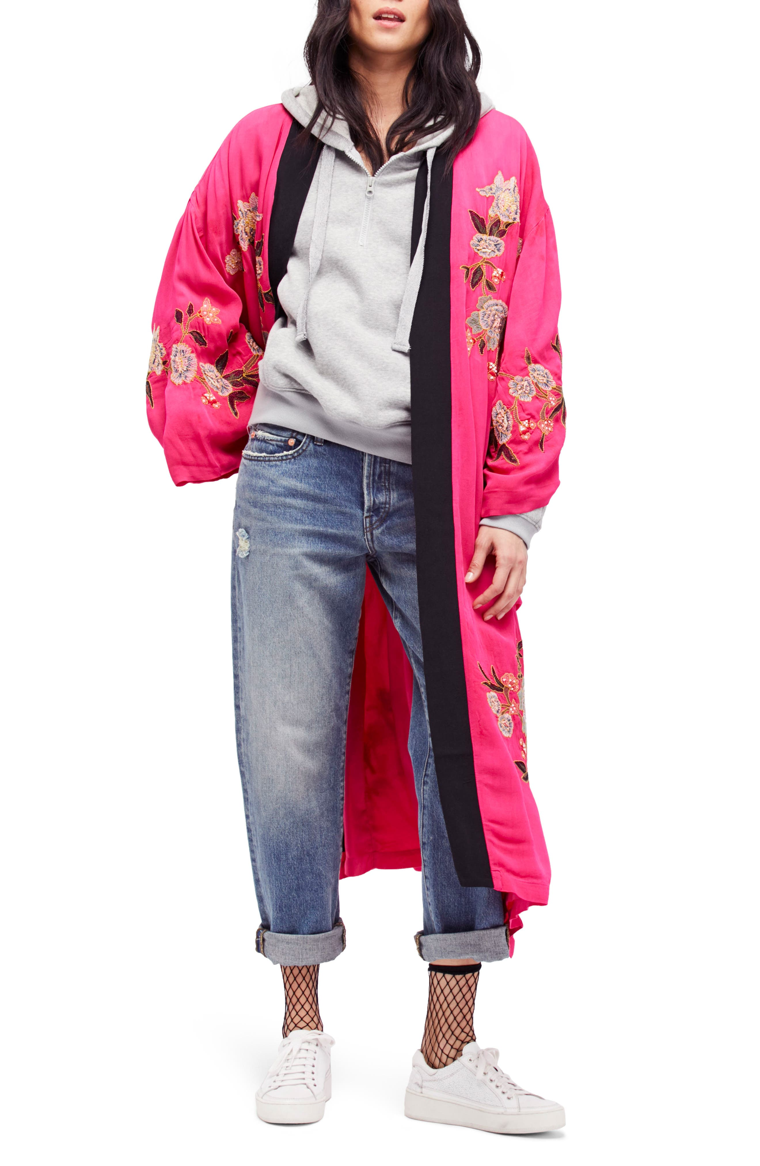 Free People Embroidered Kimono Coat