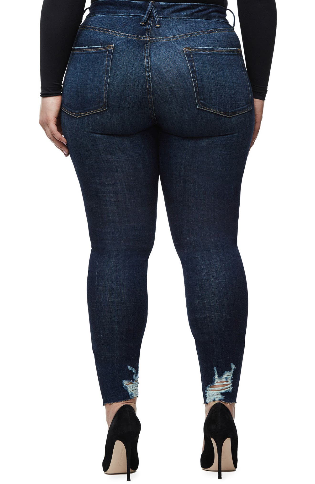 Alternate Image 5  - Good American Good Legs Raw Hem Skinny Jeans (Blue 080) (Extended Sizes)