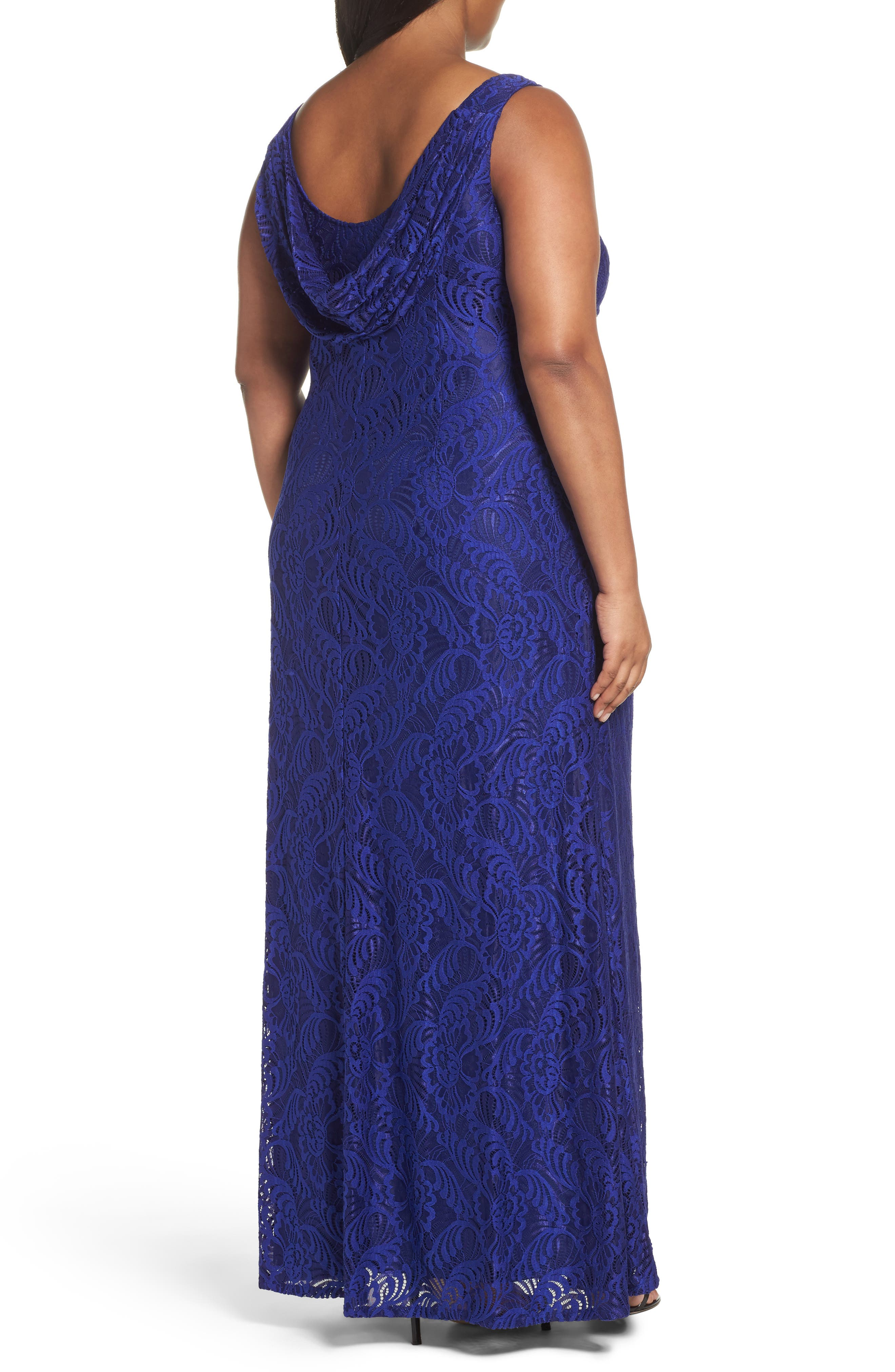 Alternate Image 2  - Adrianna Papell Cowl Back Stretch Lace Gown (Plus Size)