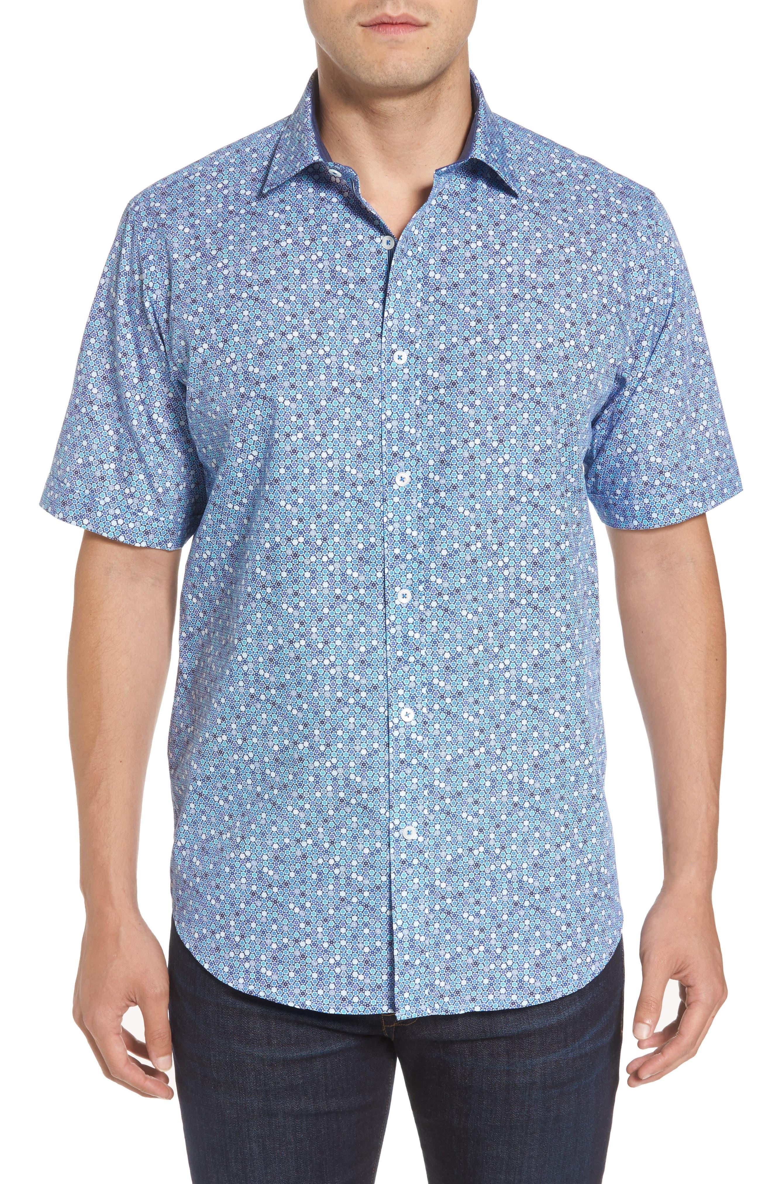 Classic Fit Flower Print Sport Shirt,                         Main,                         color, Orchid