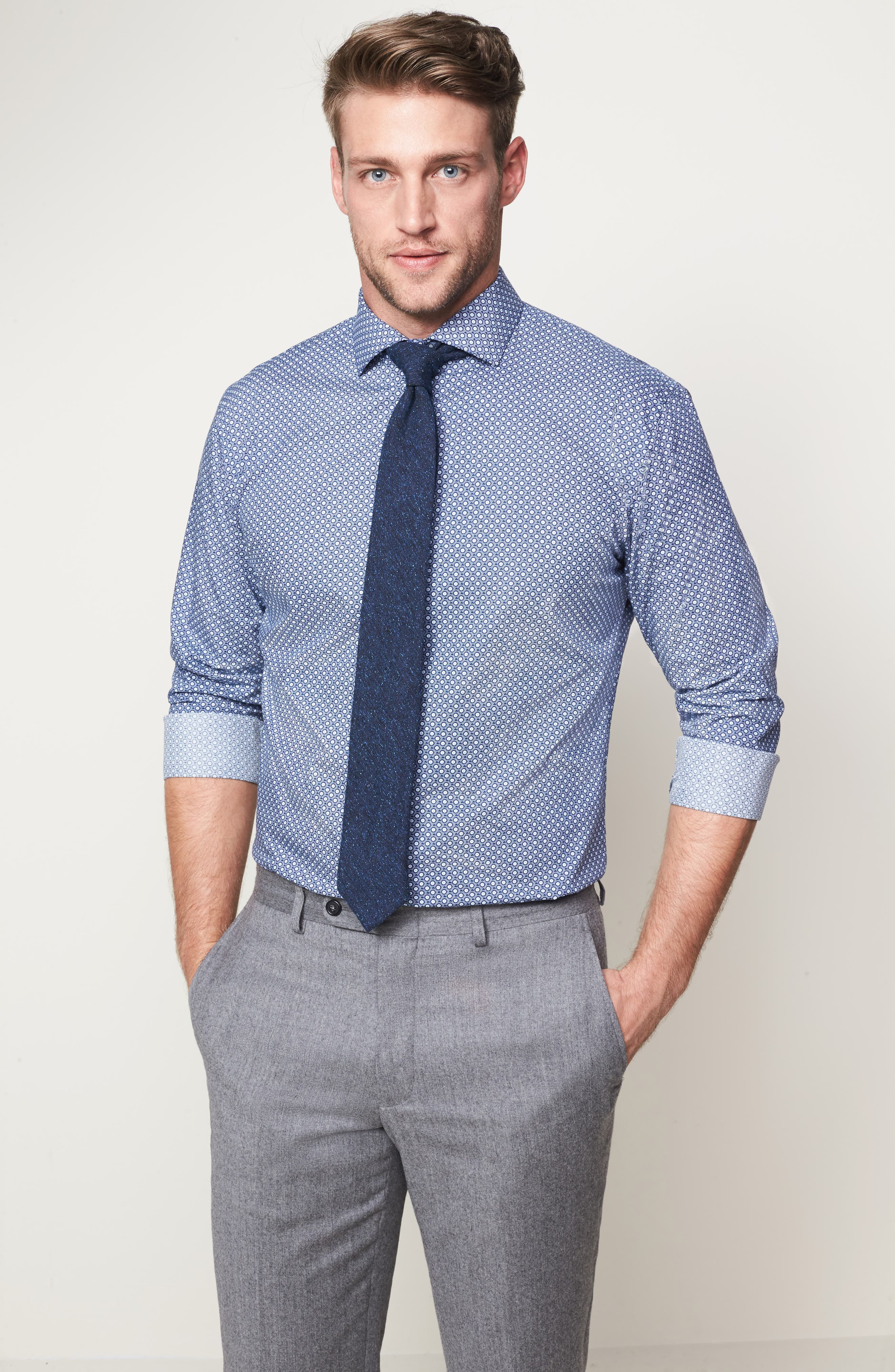 Trim Fit Dress Shirt,                             Alternate thumbnail 3, color,                             Blue Twilight