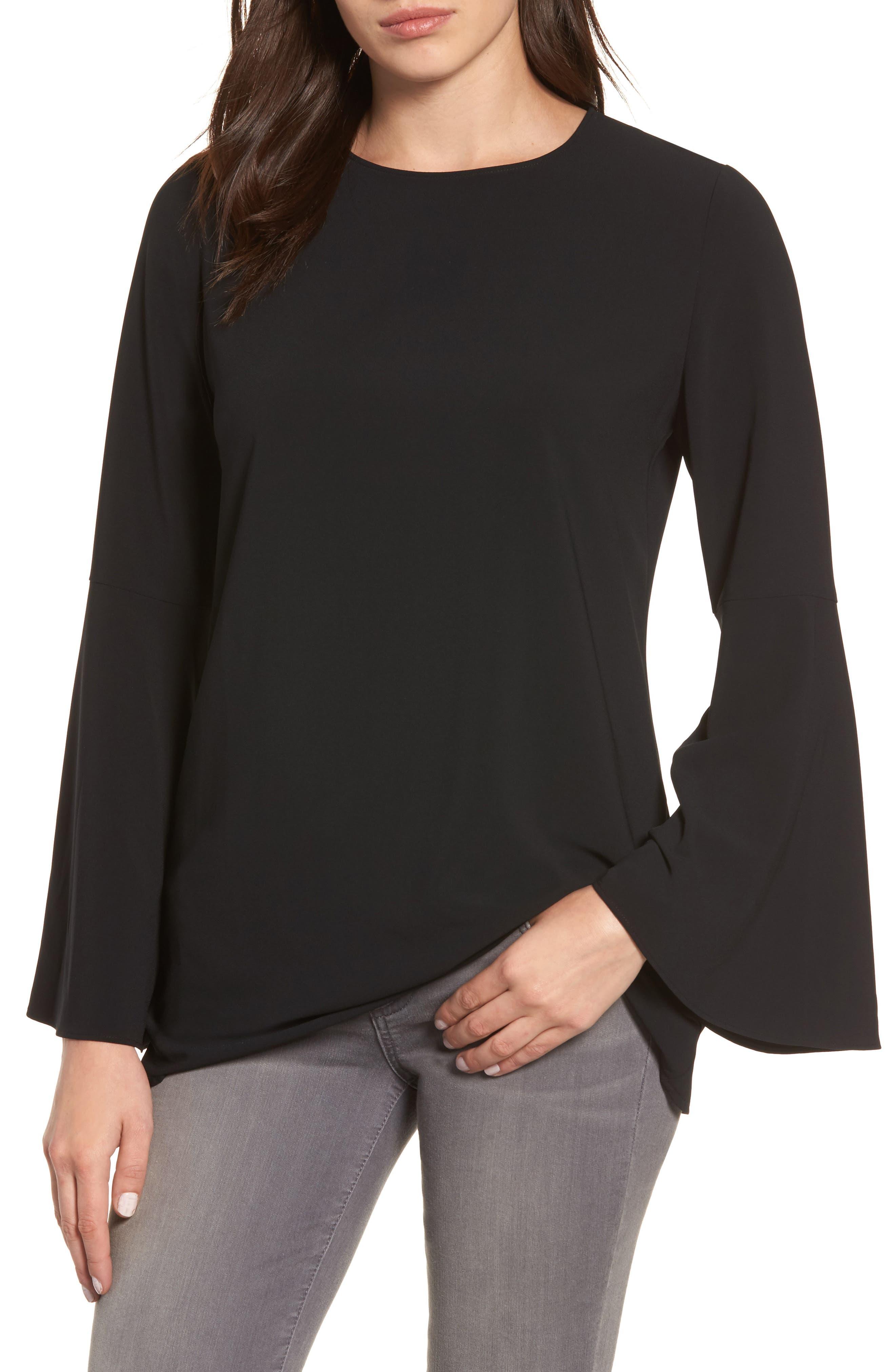 Main Image - Halogen® Bow Back Flare Sleeve Tunic (Regular & Petite)