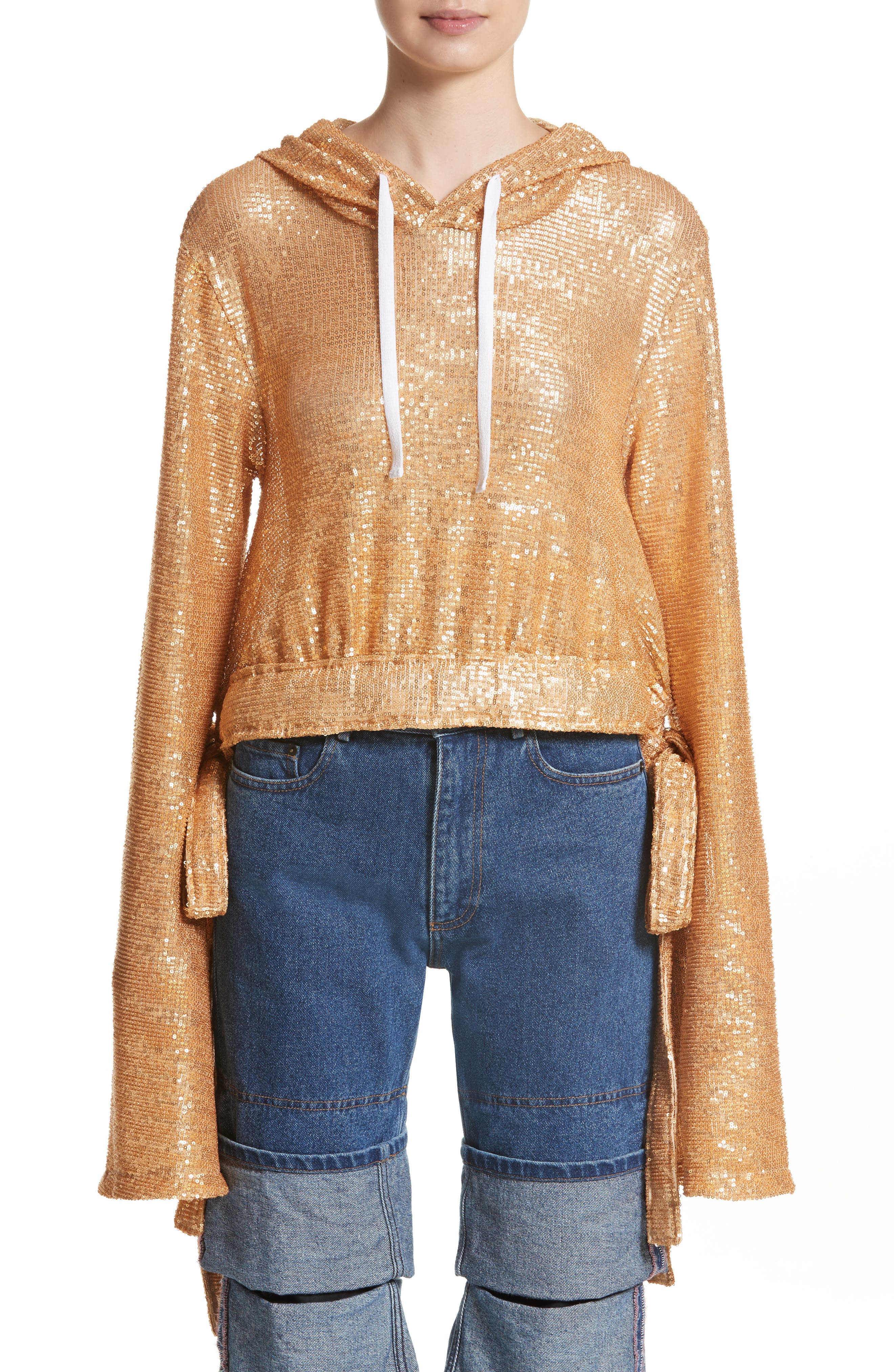 Y/PROJECT Sequin Drawstring Hoodie