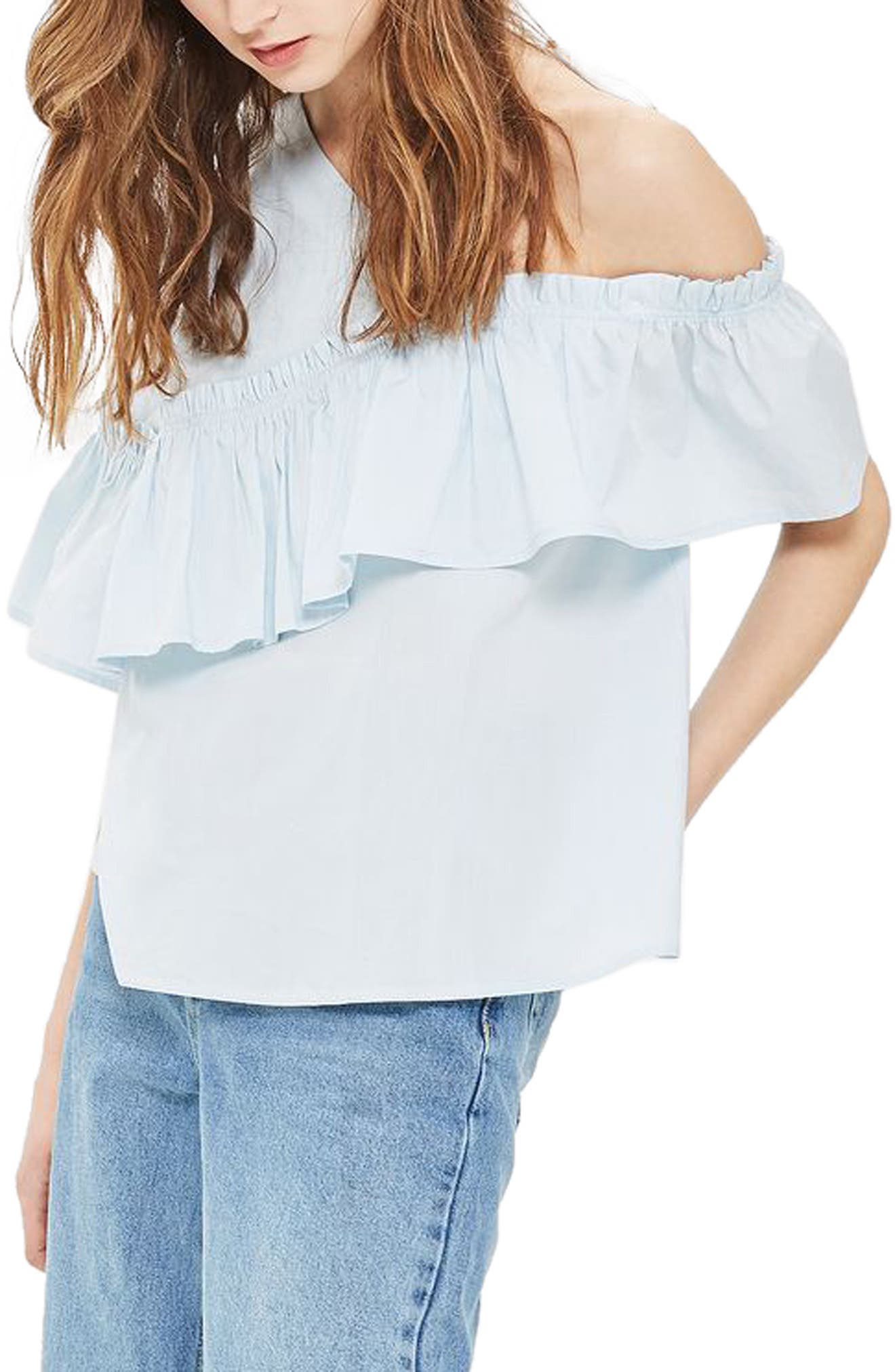 TOPSHOP One Cold Shoulder Ruffle Top