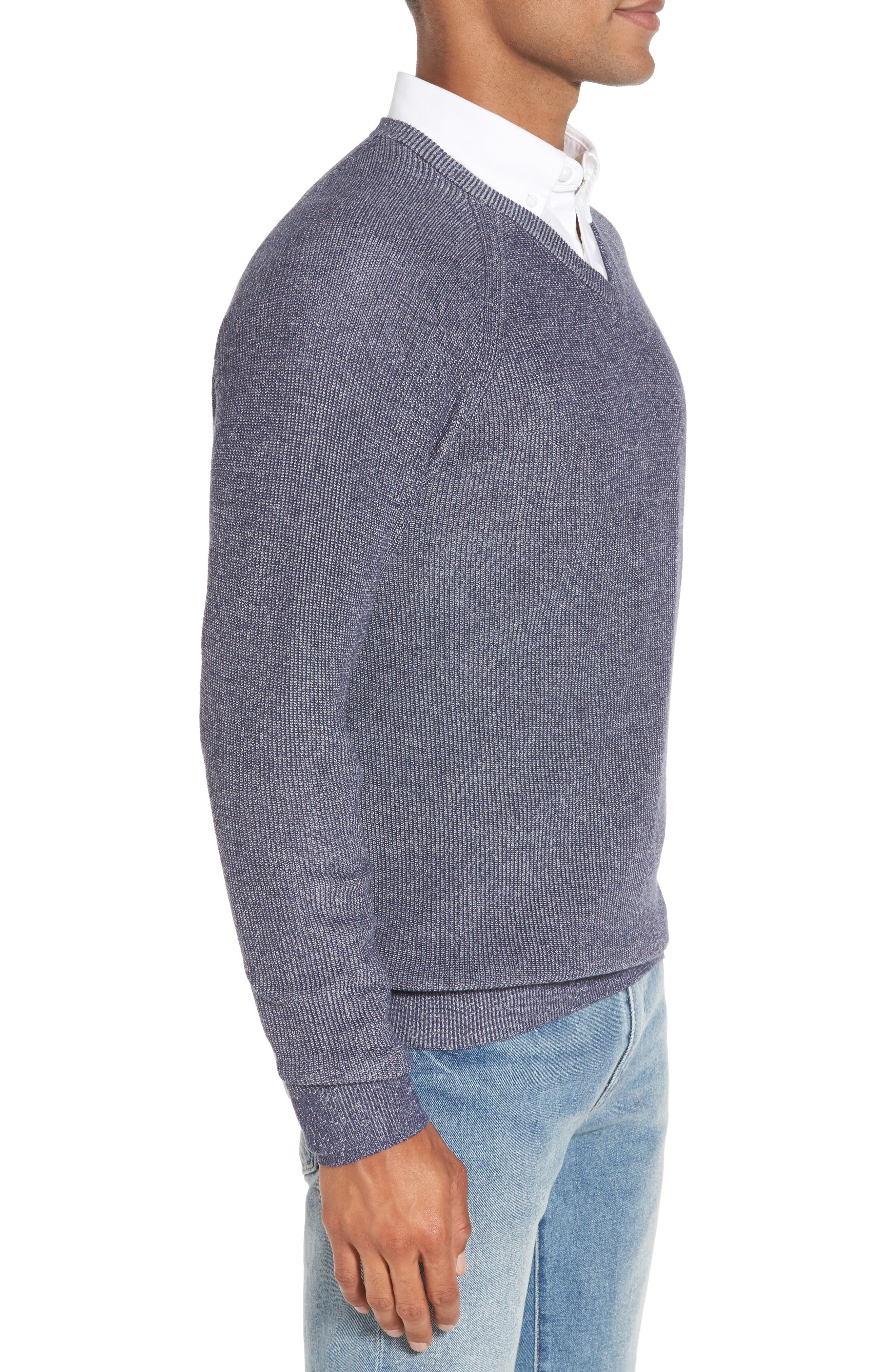 Supima<sup>®</sup> Cotton V-Neck Sweater,                             Alternate thumbnail 3, color,                             Navy Armada Marl