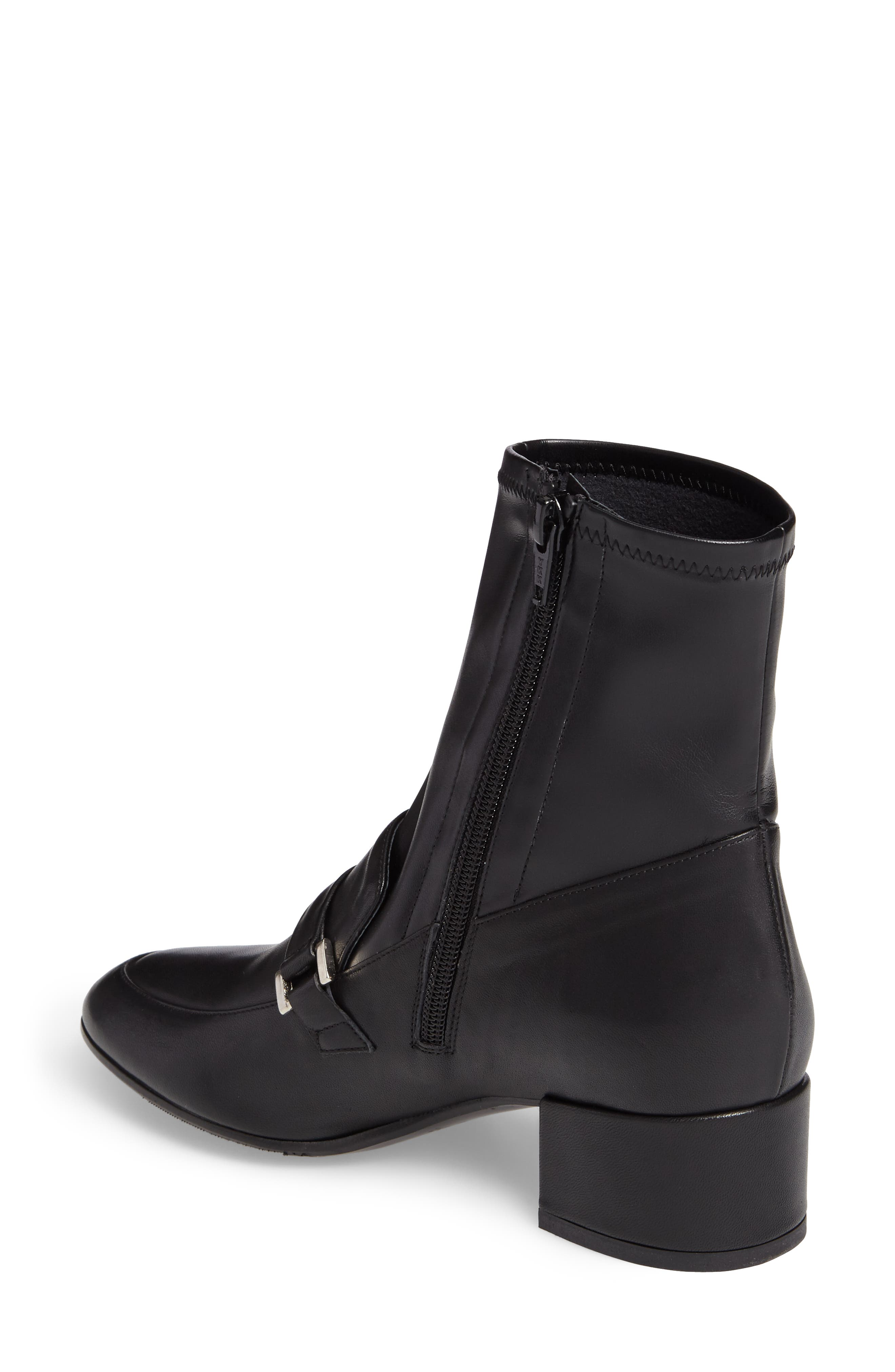Mod Loafer Bootie,                             Alternate thumbnail 2, color,                             Black Stretch Leather