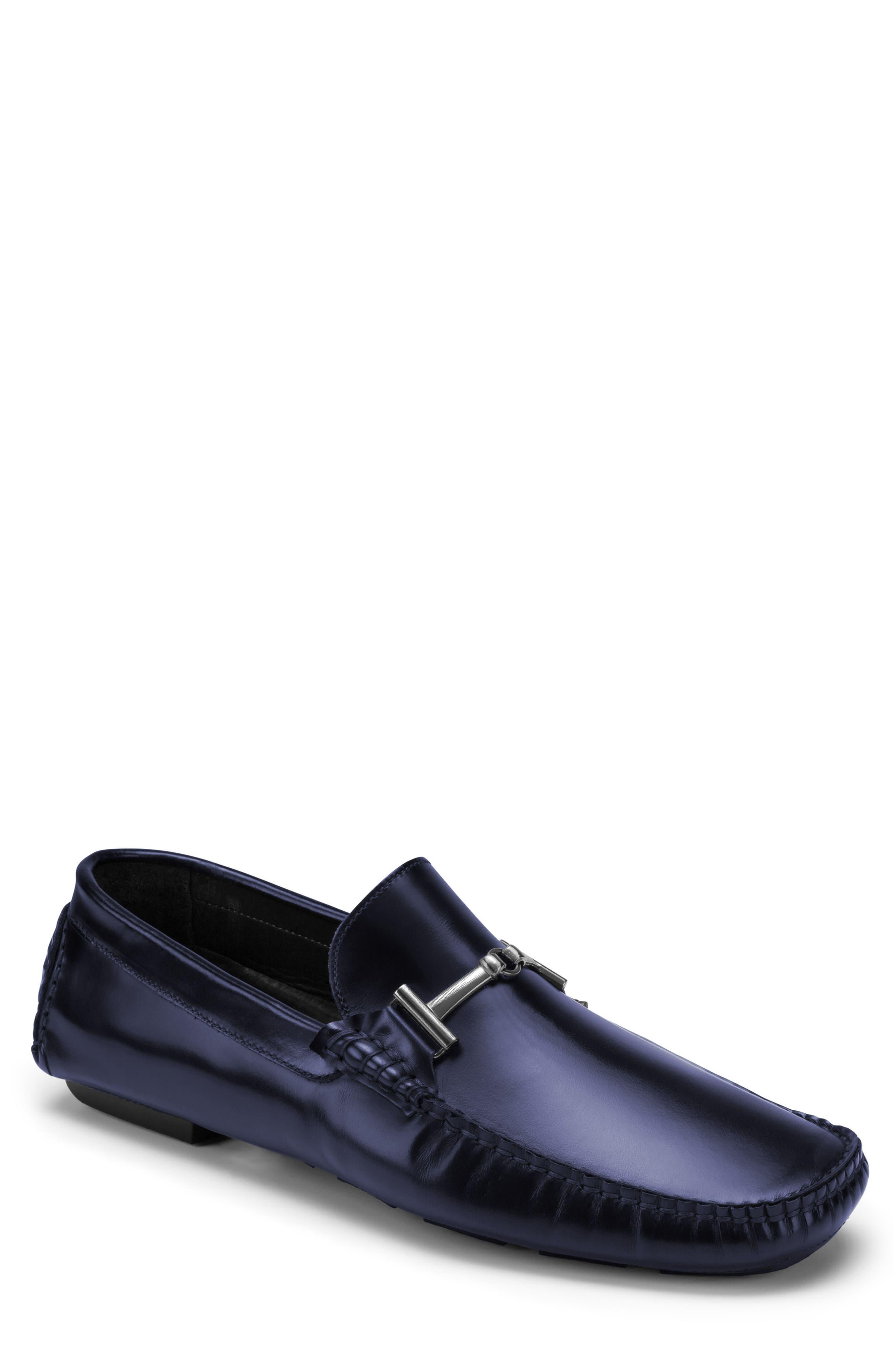 St. Tropez Driving Shoe,                         Main,                         color, Blue Leather