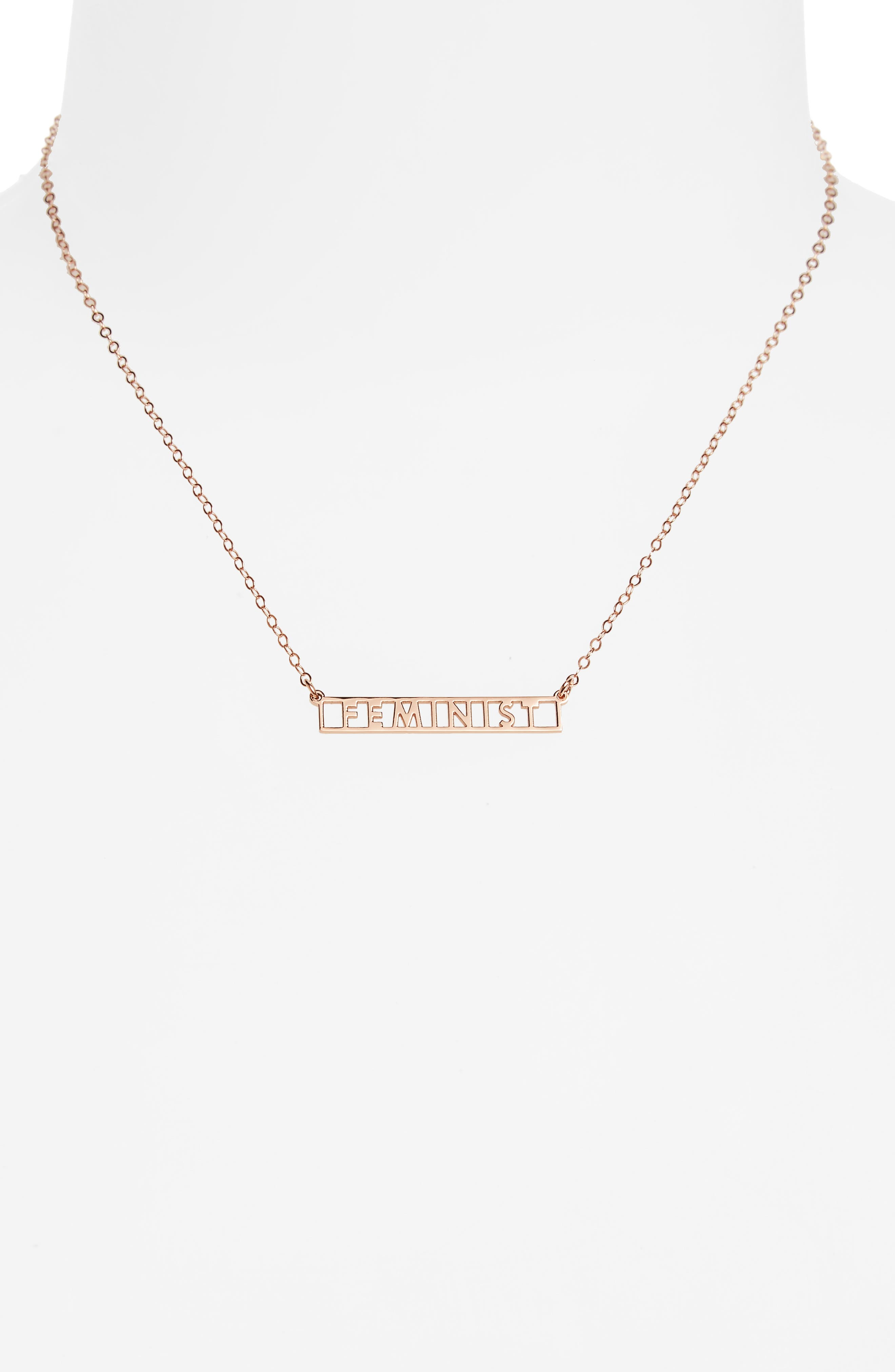 Feminist Necklace,                             Alternate thumbnail 2, color,                             Rose Gold