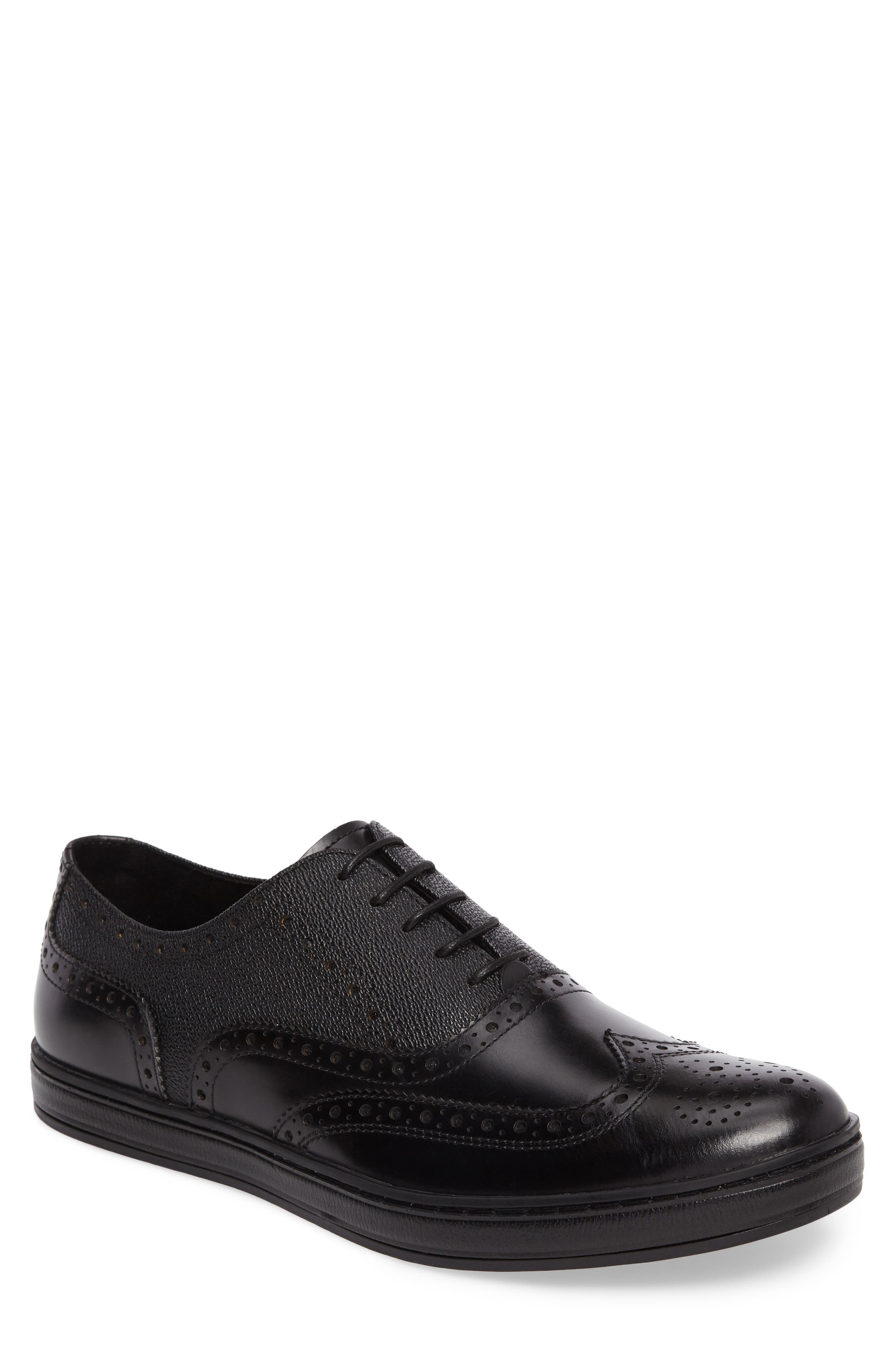 Wingtip,                             Main thumbnail 1, color,                             Black Leather