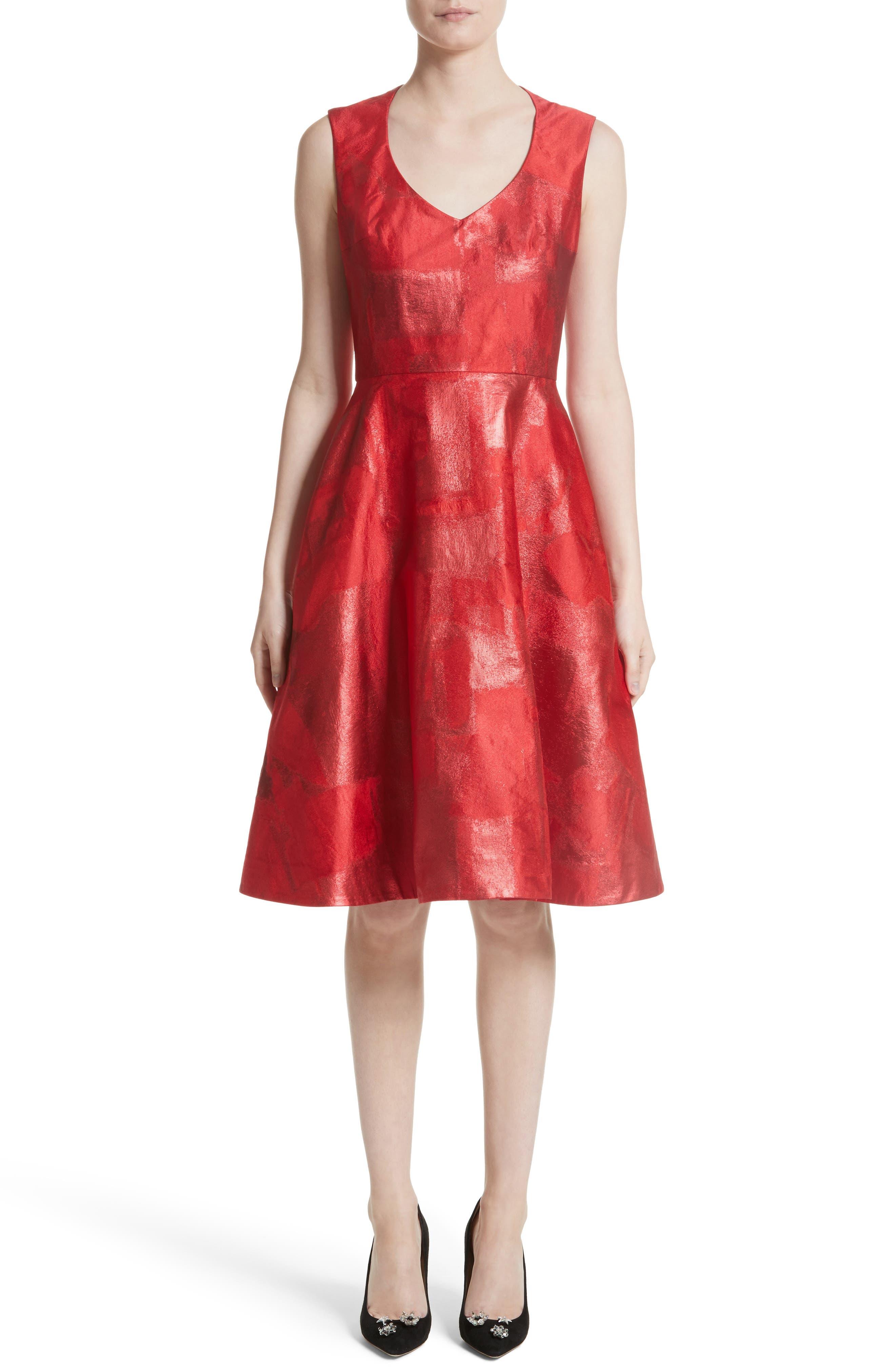 RUBIN SINGER Metallic Jacquard Party Dress
