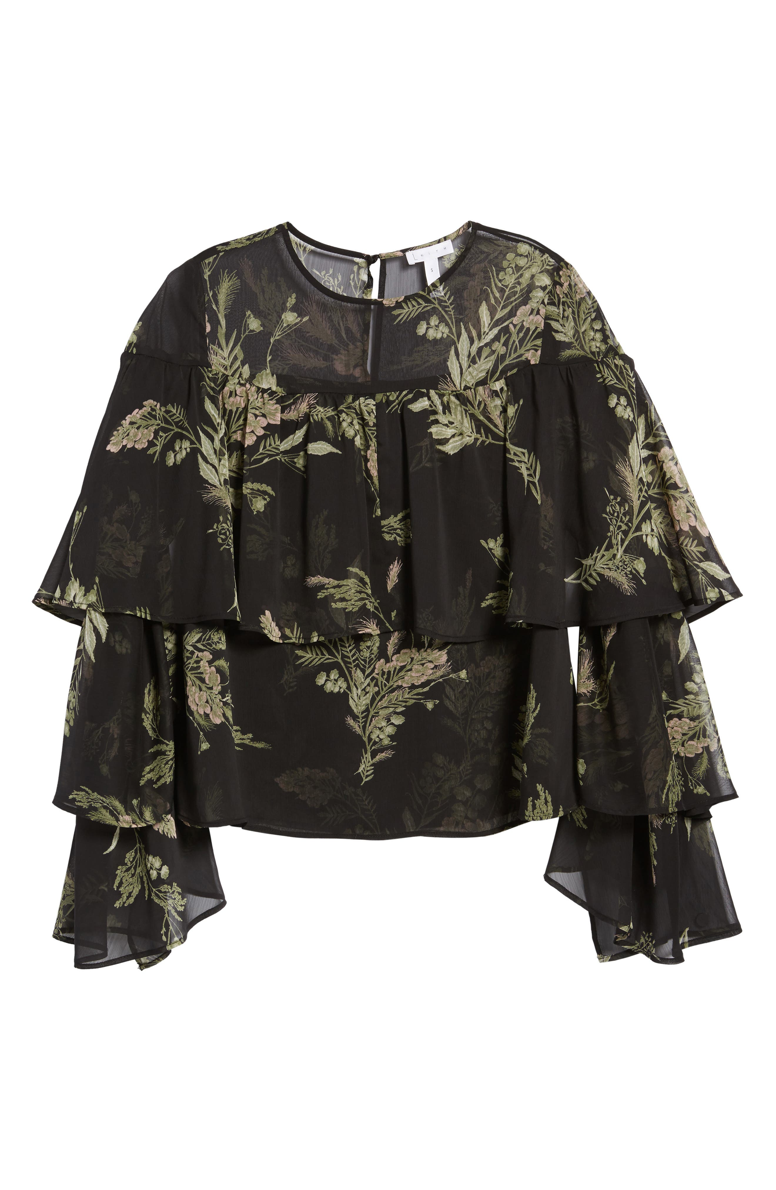 Tiered Flounce Top,                             Alternate thumbnail 6, color,                             Black Whispy Floral