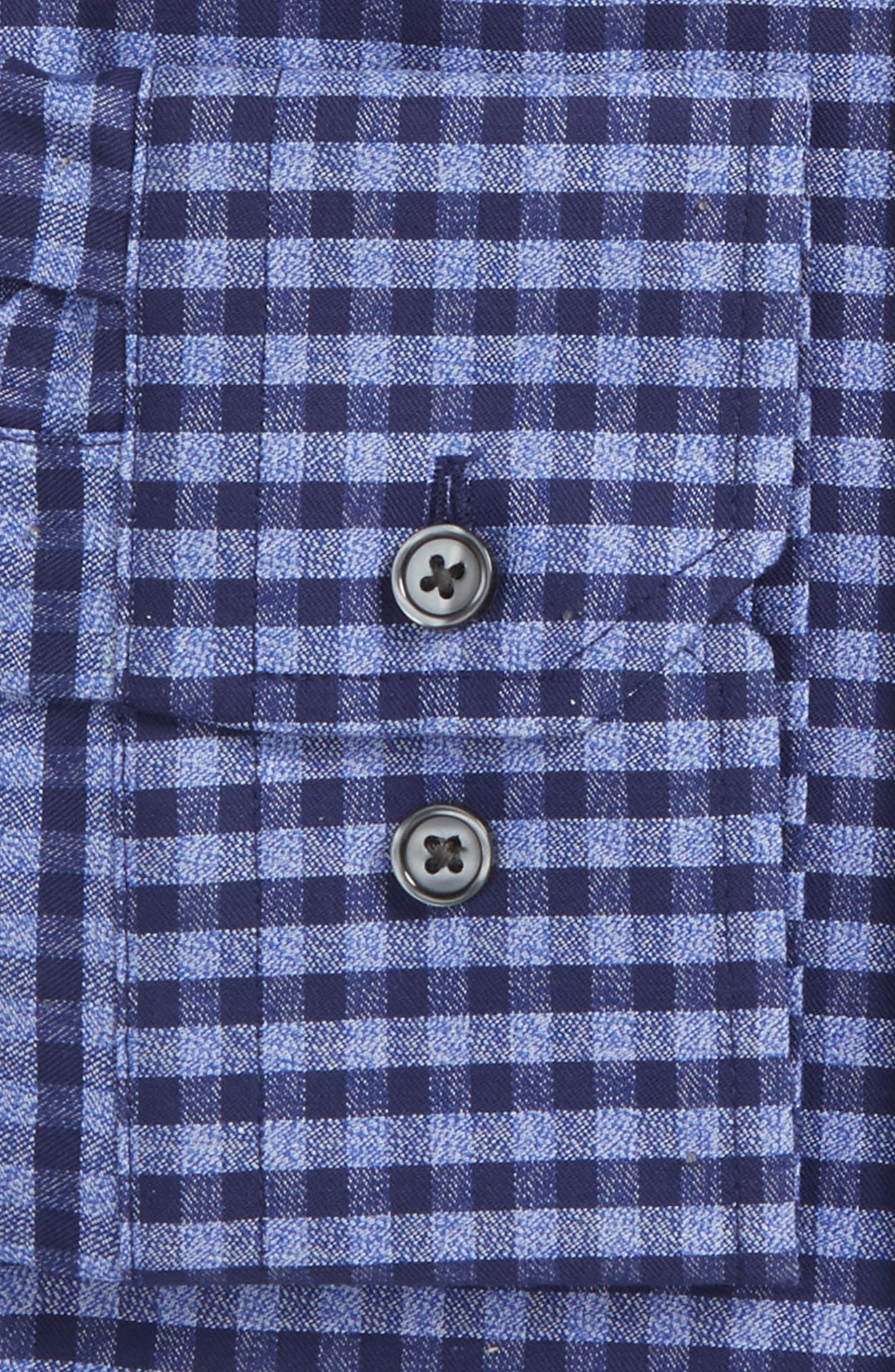 Trim Fit Non-Iron Check Dress Shirt,                             Alternate thumbnail 4, color,                             Blue Dazzle