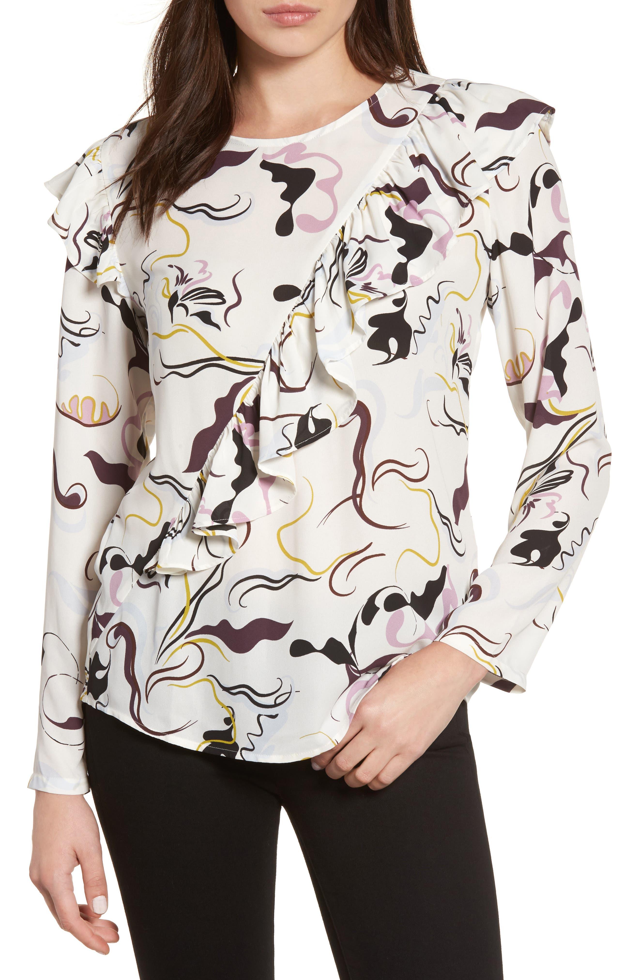 Ruffle Detail Top,                         Main,                         color, Ivory- Purple Swirl Print