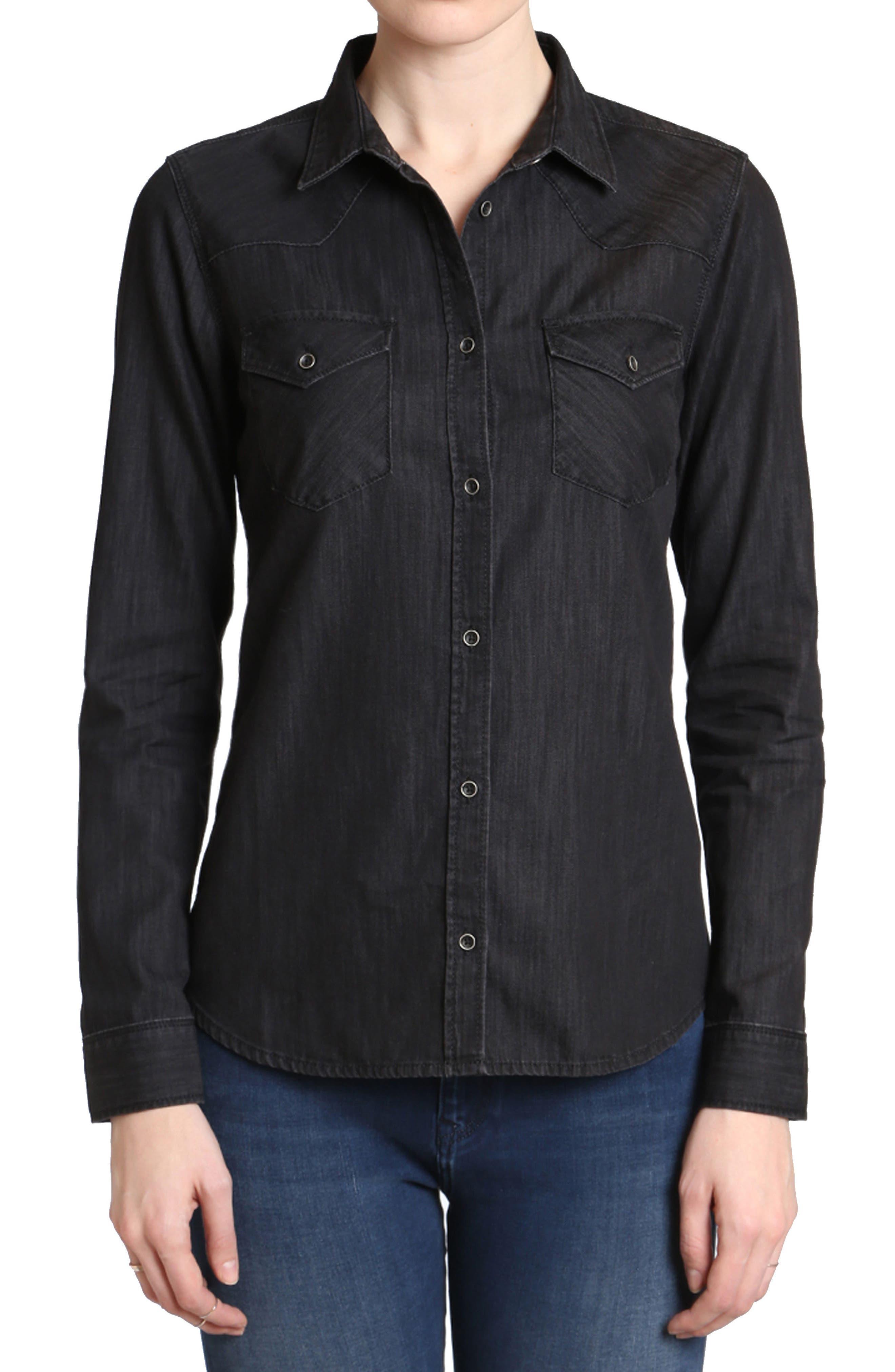 Isabel Denim Shirt,                         Main,                         color, Black Used