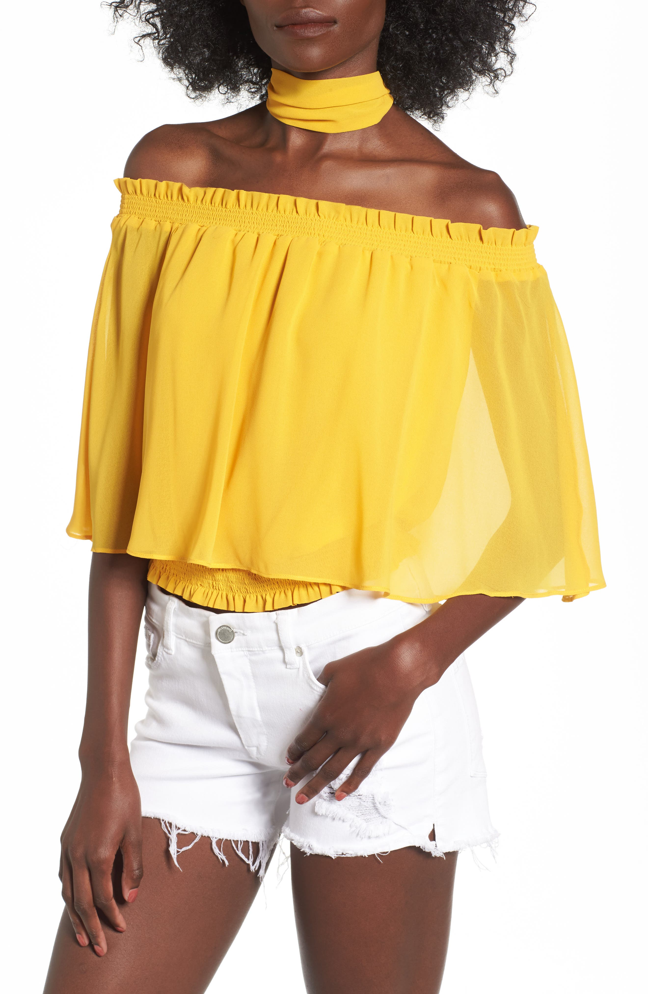 Lora Off the Shoulder Ruffle Top with Scarf,                             Main thumbnail 1, color,                             Sun