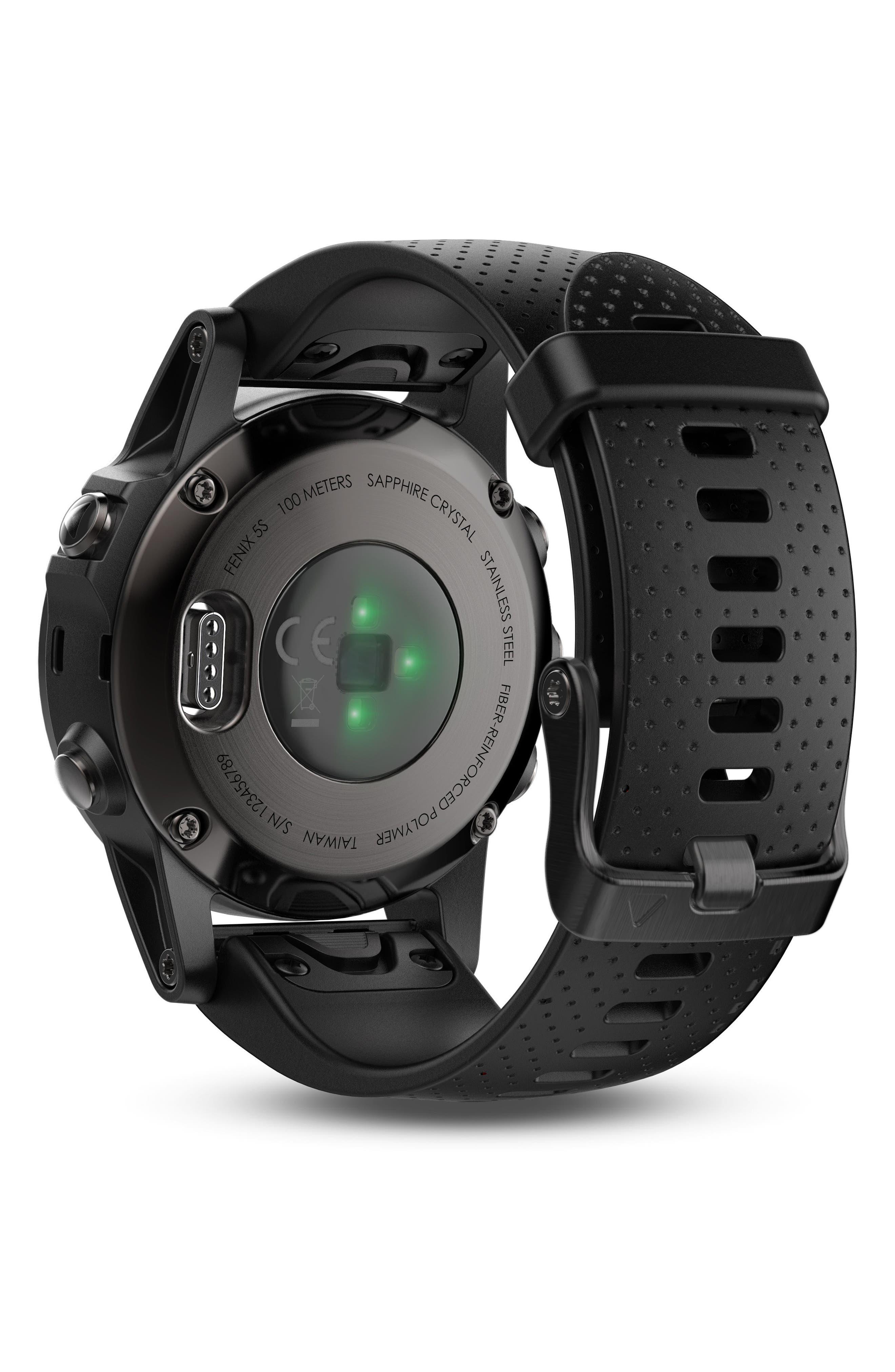 fenix<sup>®</sup> 5S Sapphire Premium Multisport GPS Watch, 42mm,                             Alternate thumbnail 4, color,                             Black/ Black Sapphire